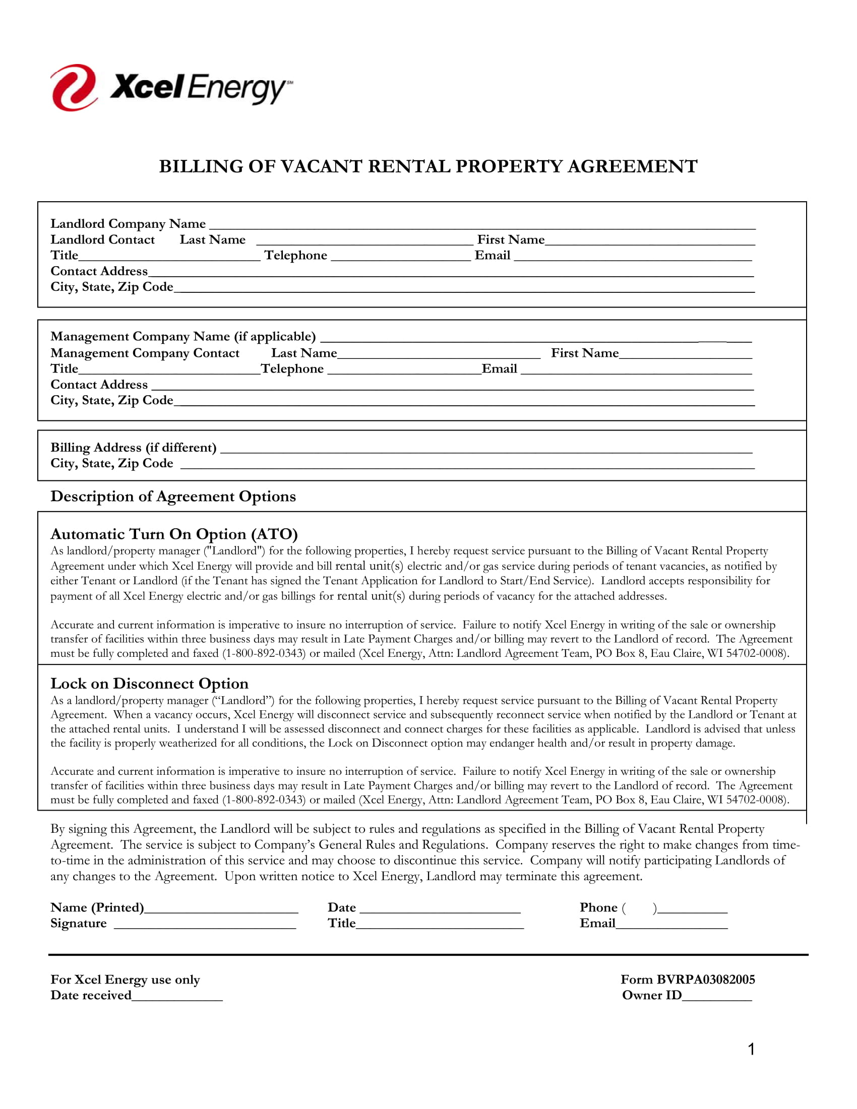 billing of vacant rental property agreement contract form 1