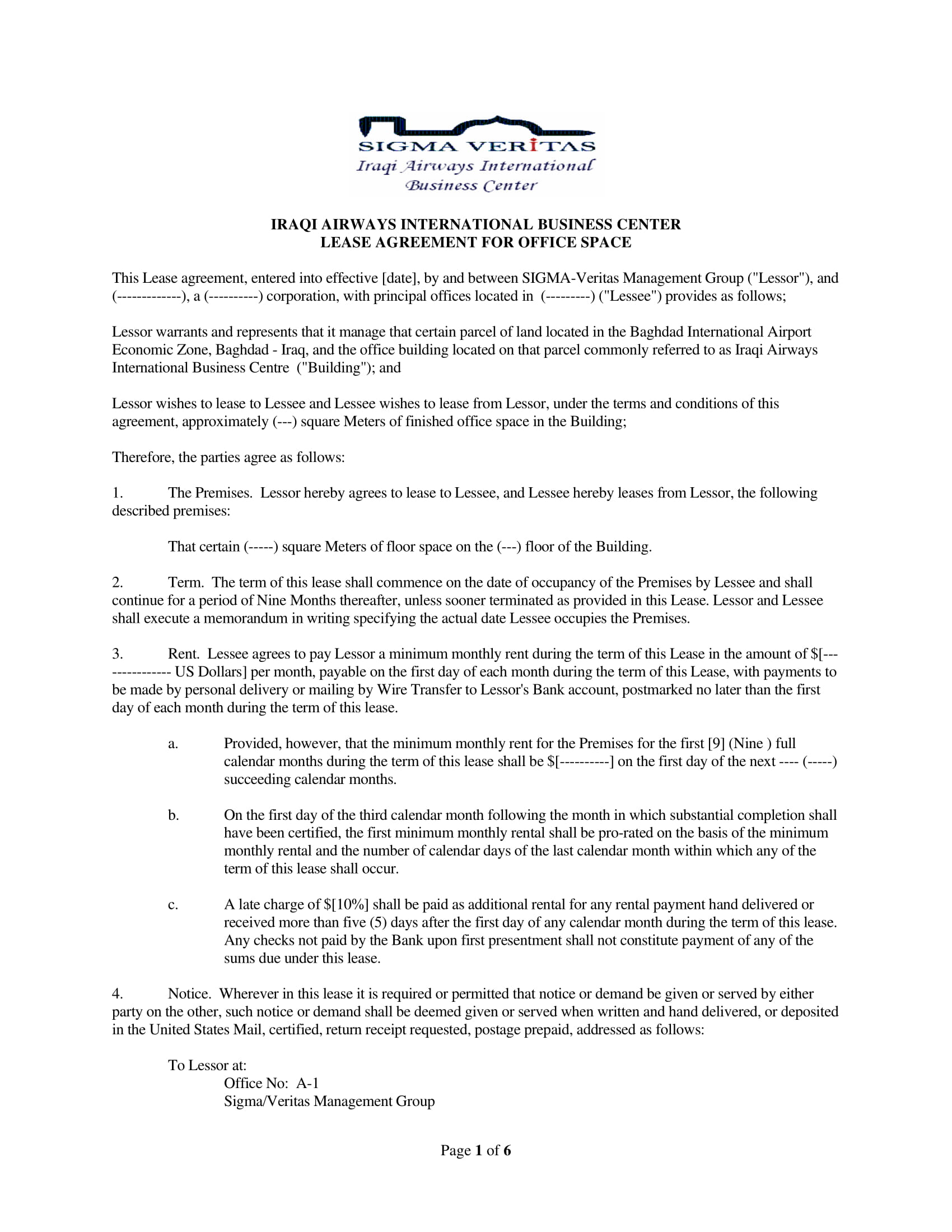 5 Office Lease Agreement Contract Forms Pdf