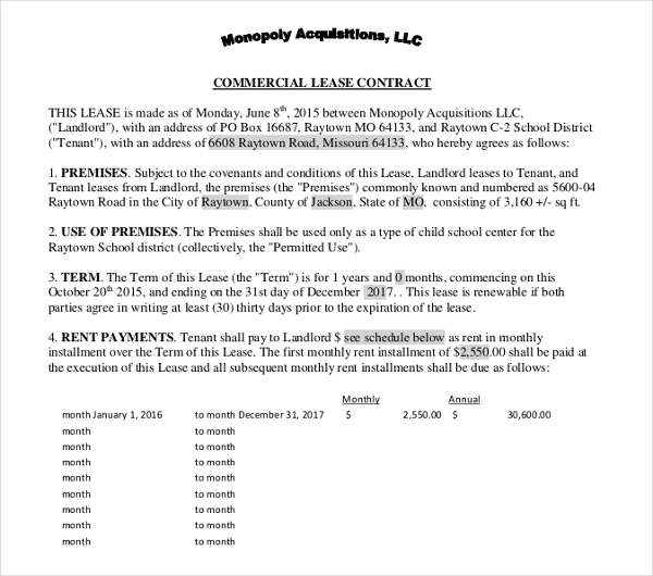 business commercial lease contract form