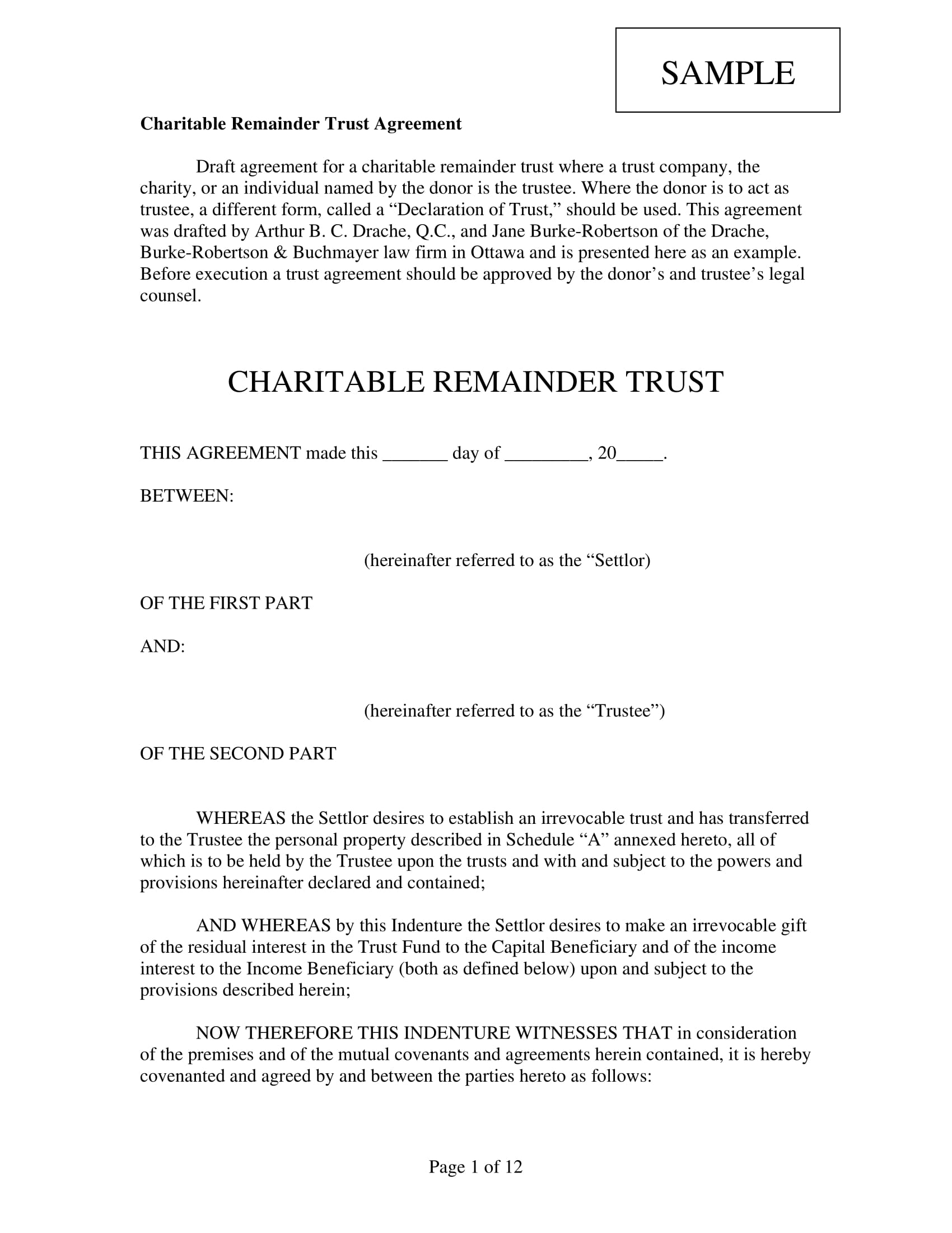 charitable remainder trust agreement contract form 01