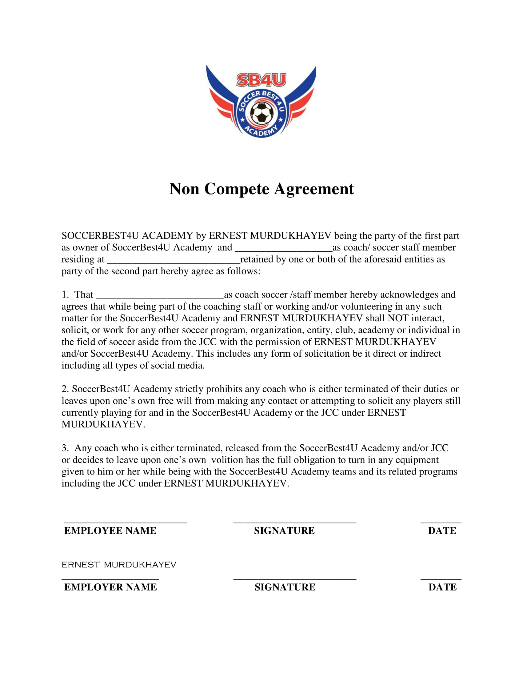 8 Non Competition Agreement Contract Forms Pdf Doc