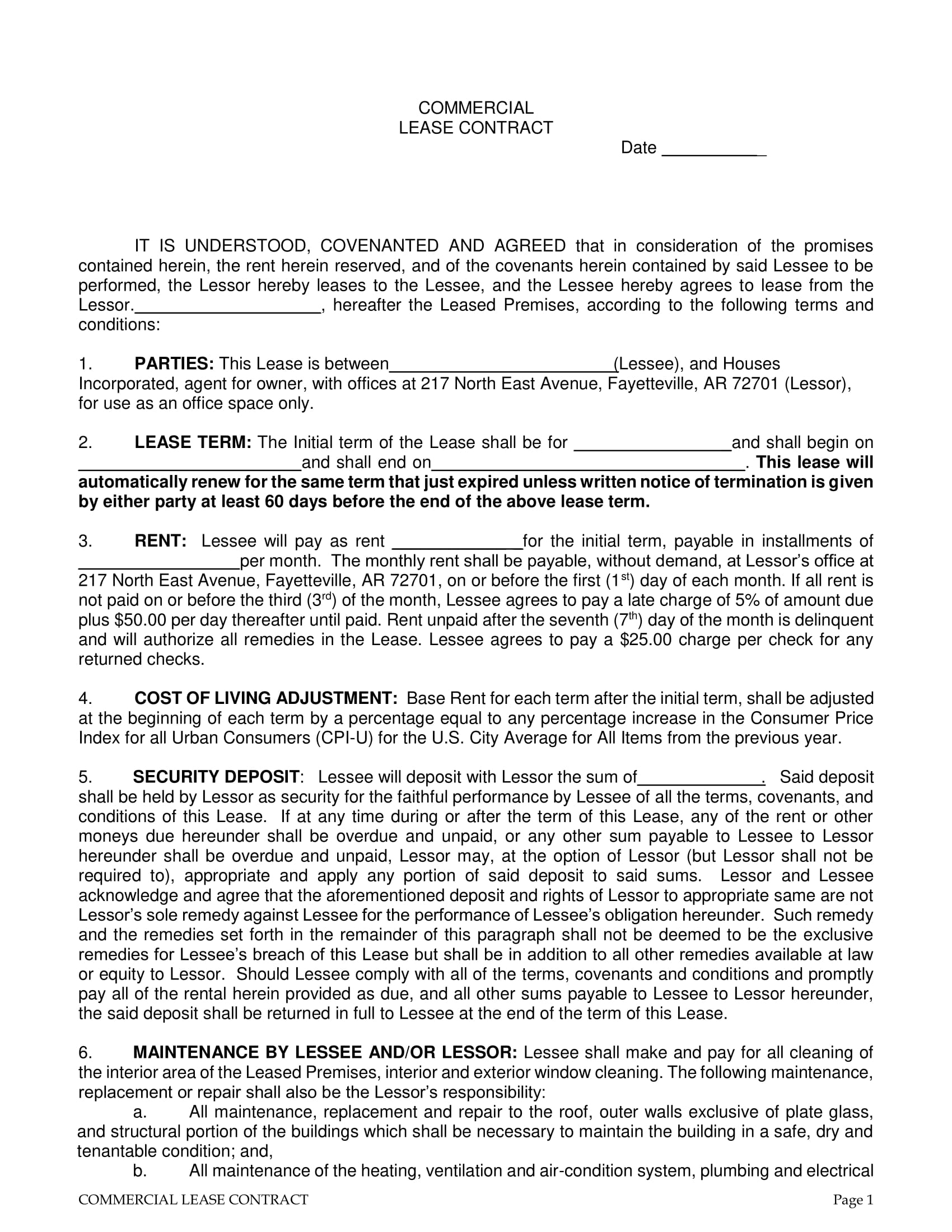 commercial lease contract form 1