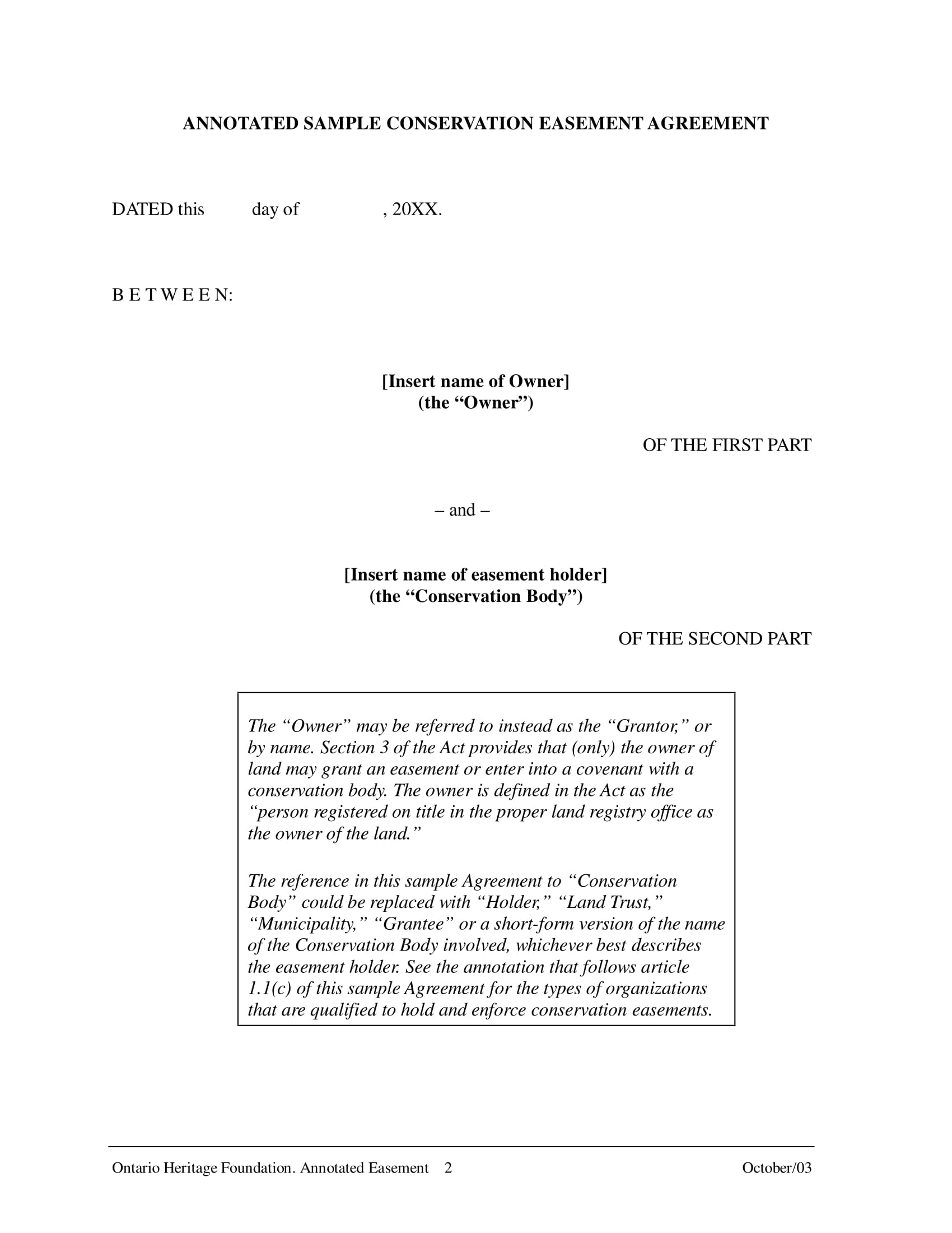 conservation easement agreement contract form 02