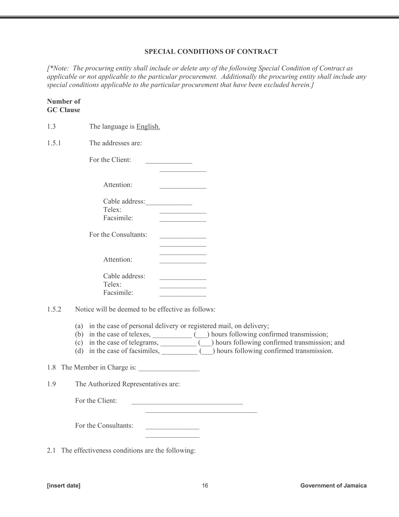 consulting services procurement contract form 16