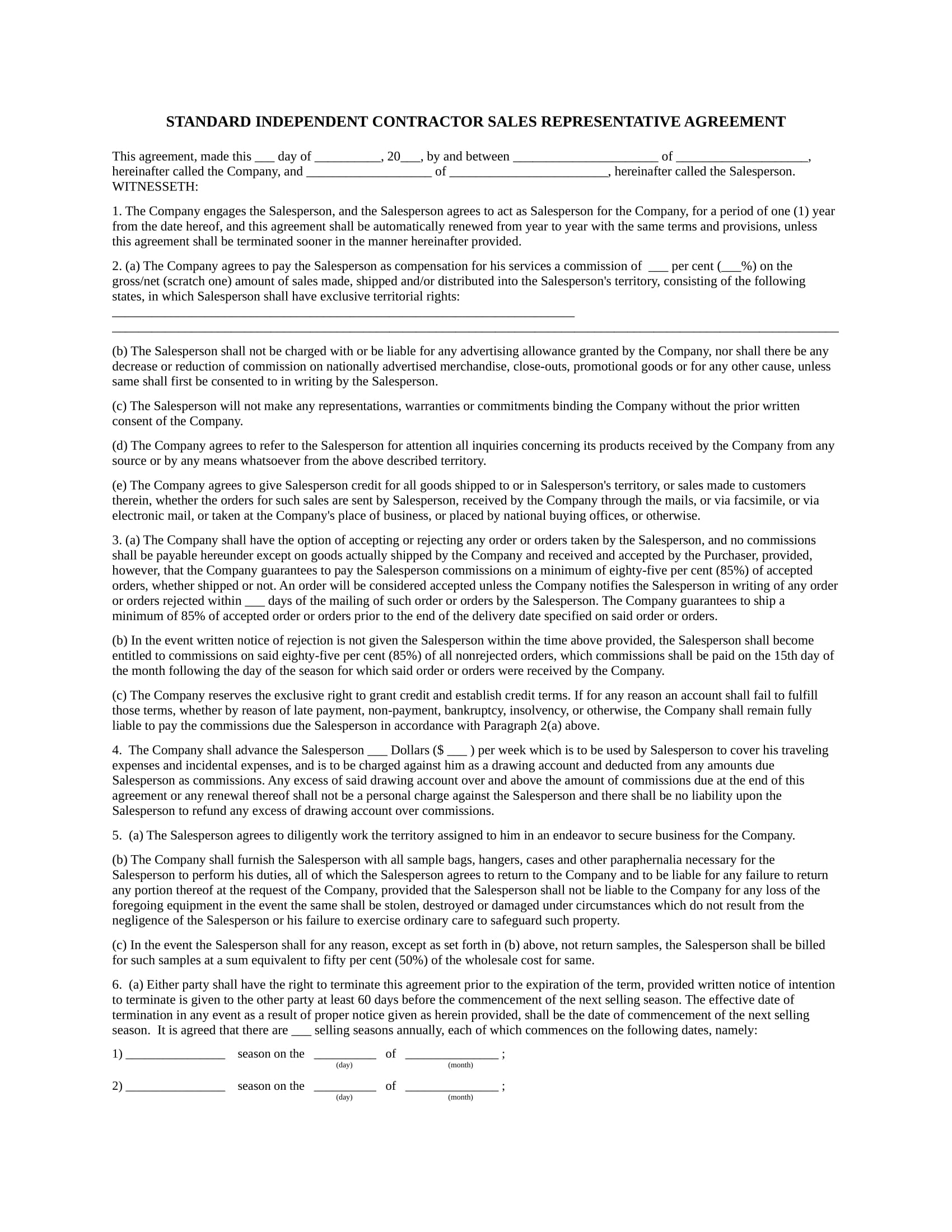 contractor salesperson representative agreement contract form in doc 1