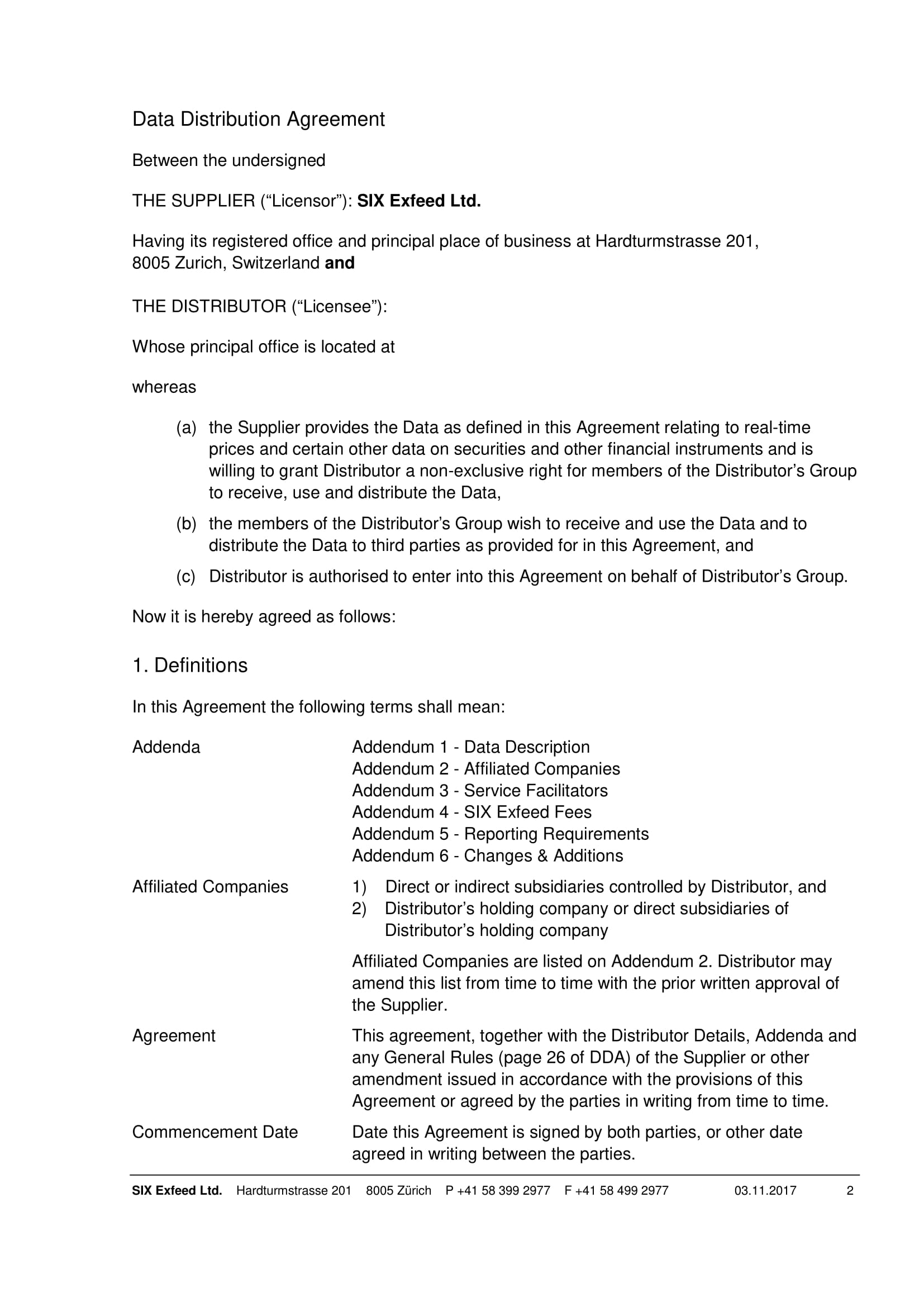 data distribution agreement contract form 04