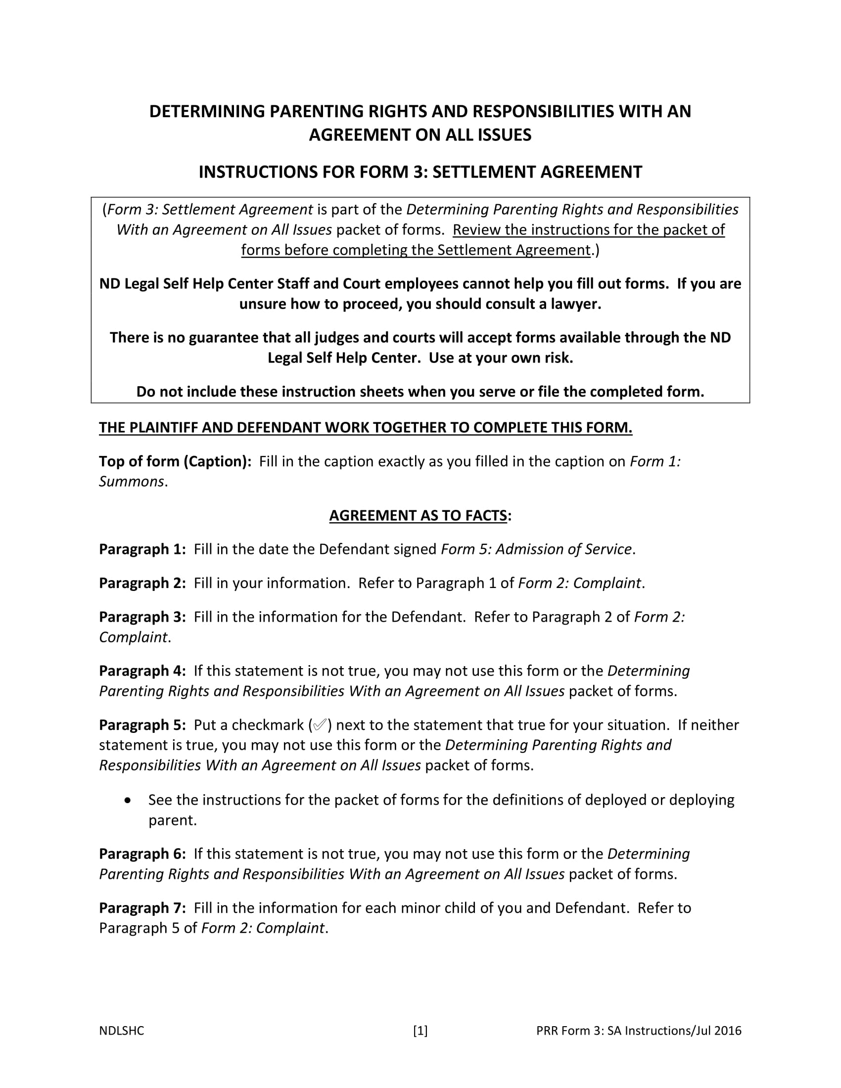 domestic parenting settlement agreement contract form