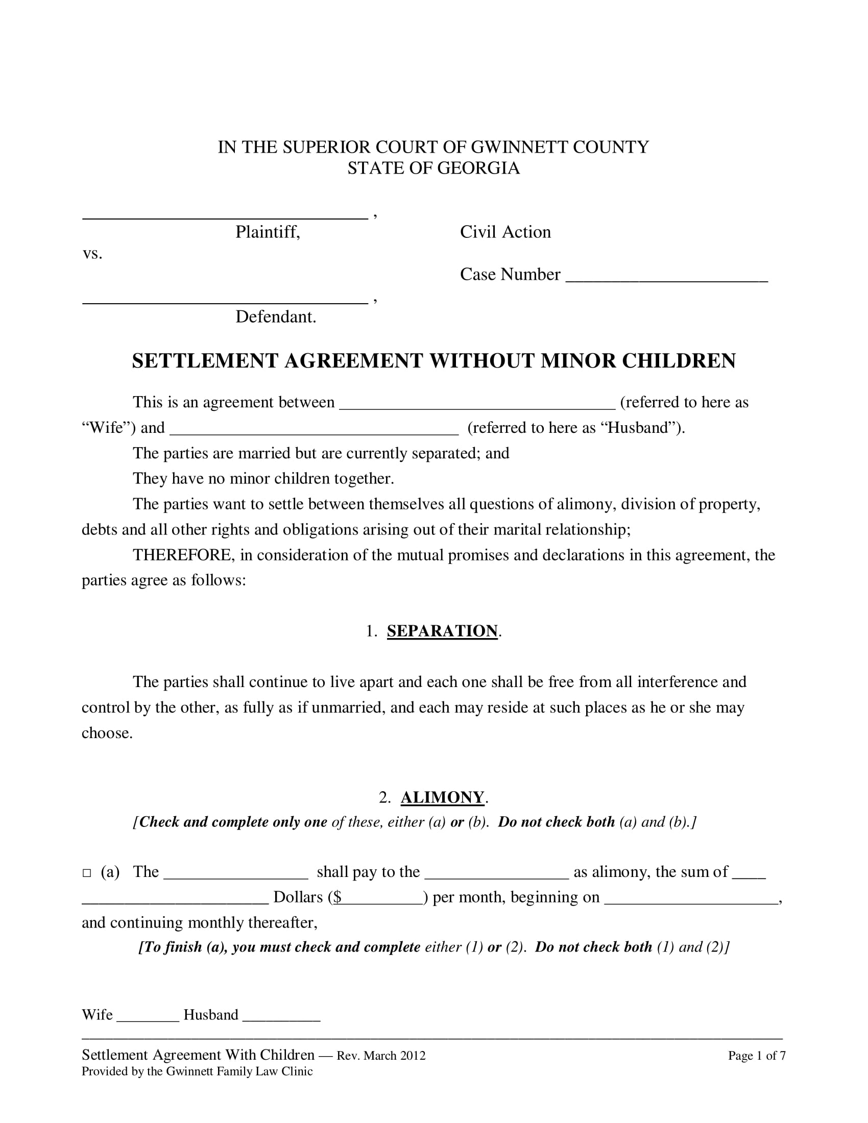 domestic settlement agreement without minor form 1