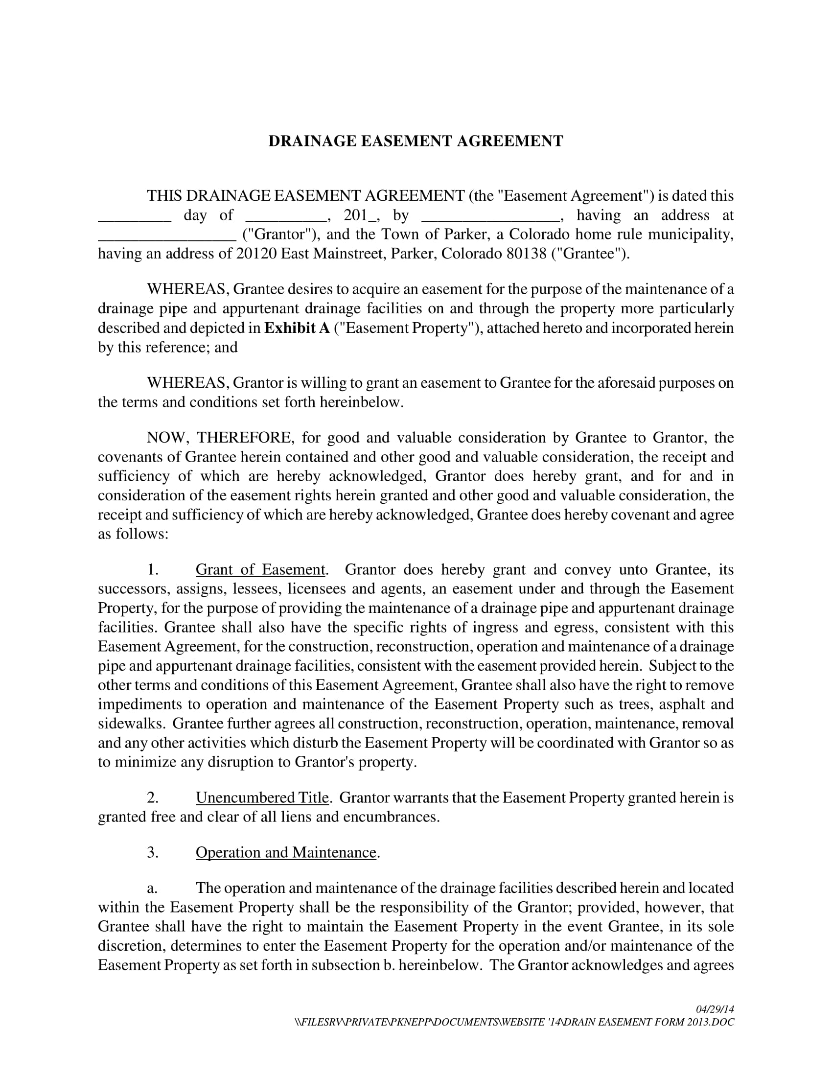 drainage easement agreement contract form 1