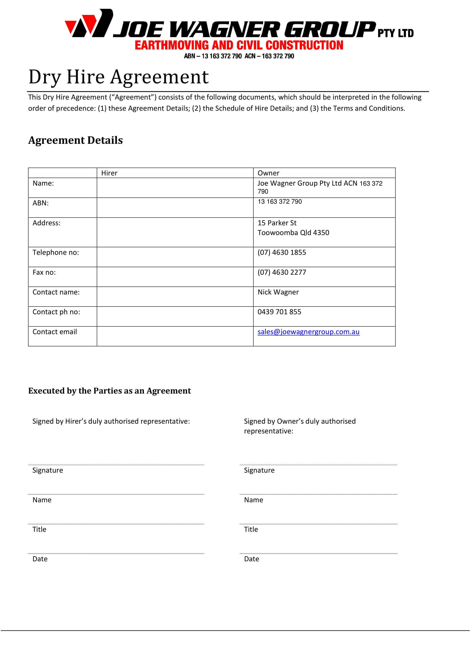 dry hire agreement contract form 1