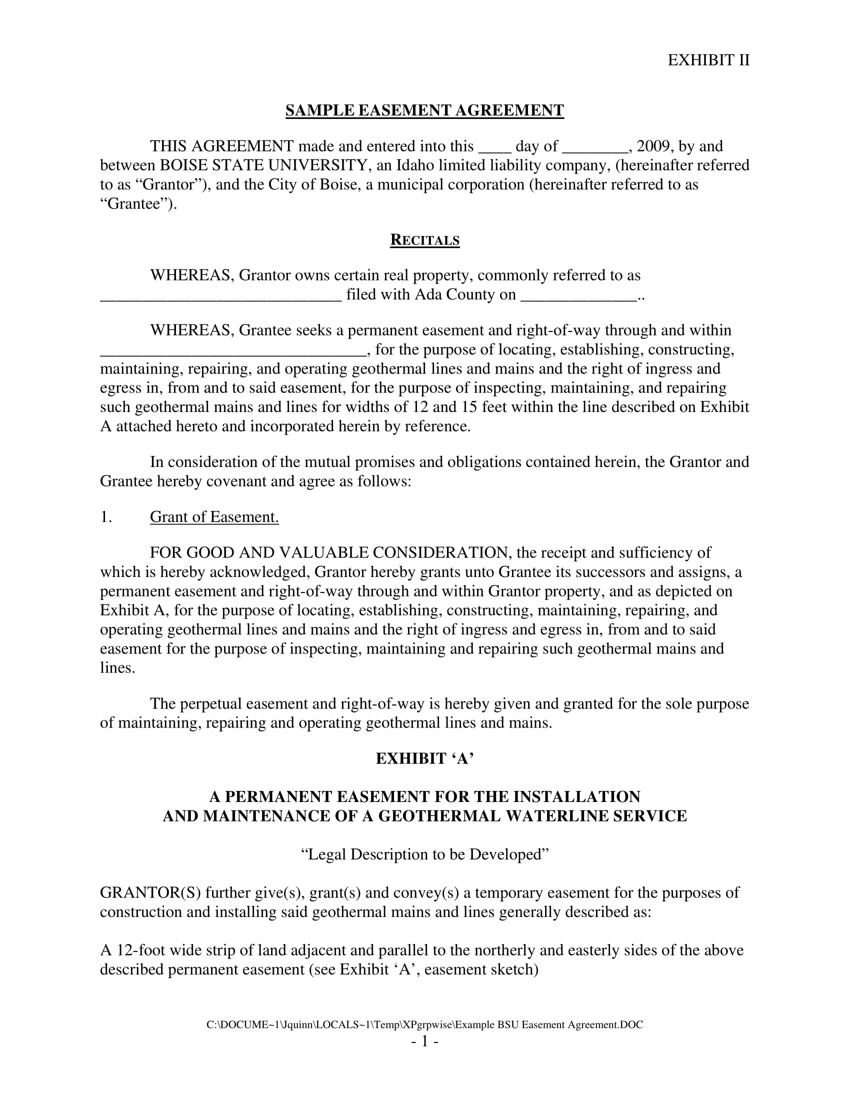easement agreement contract form sample 1