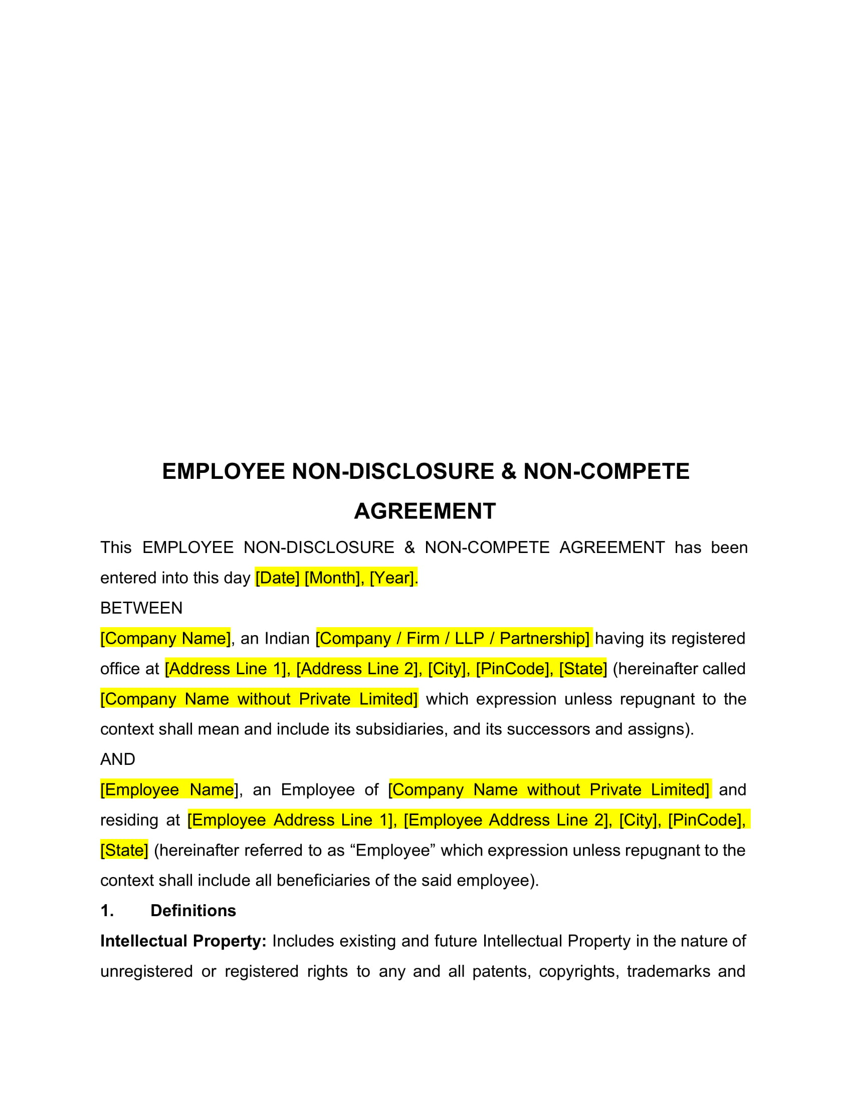 employee non disclosure non compete agreement contract form 1