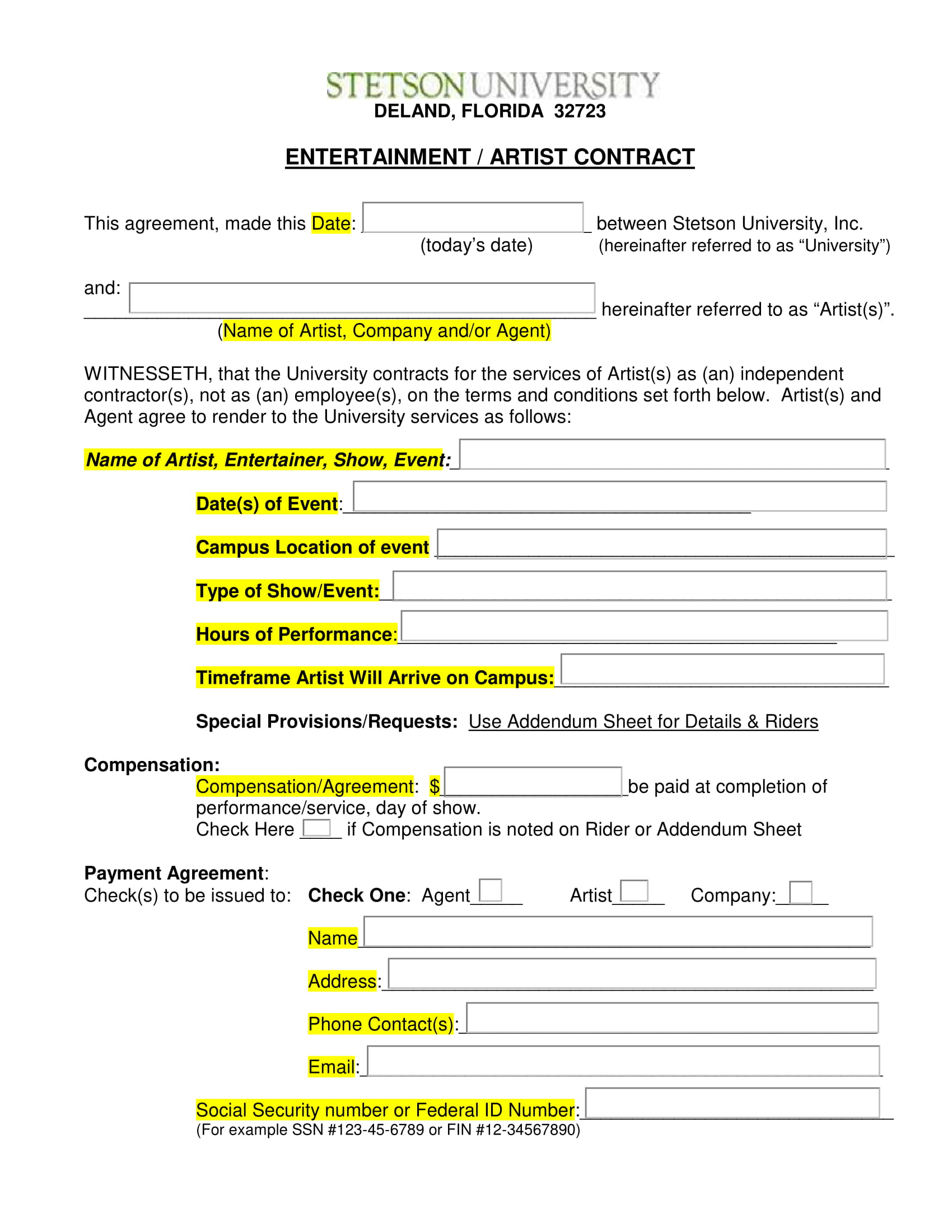 entertainment artist contract form 1