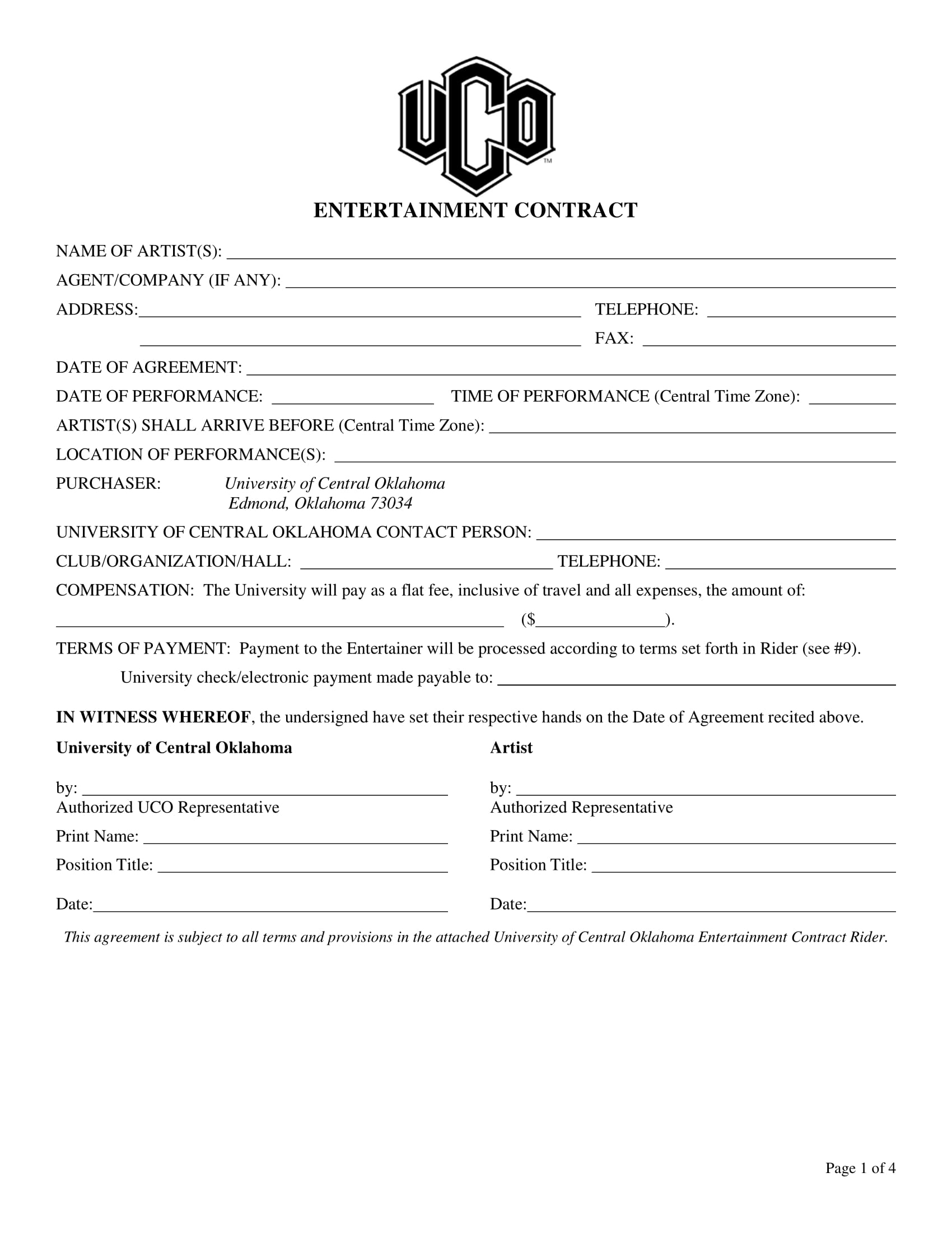 entertainment contract form sample 1