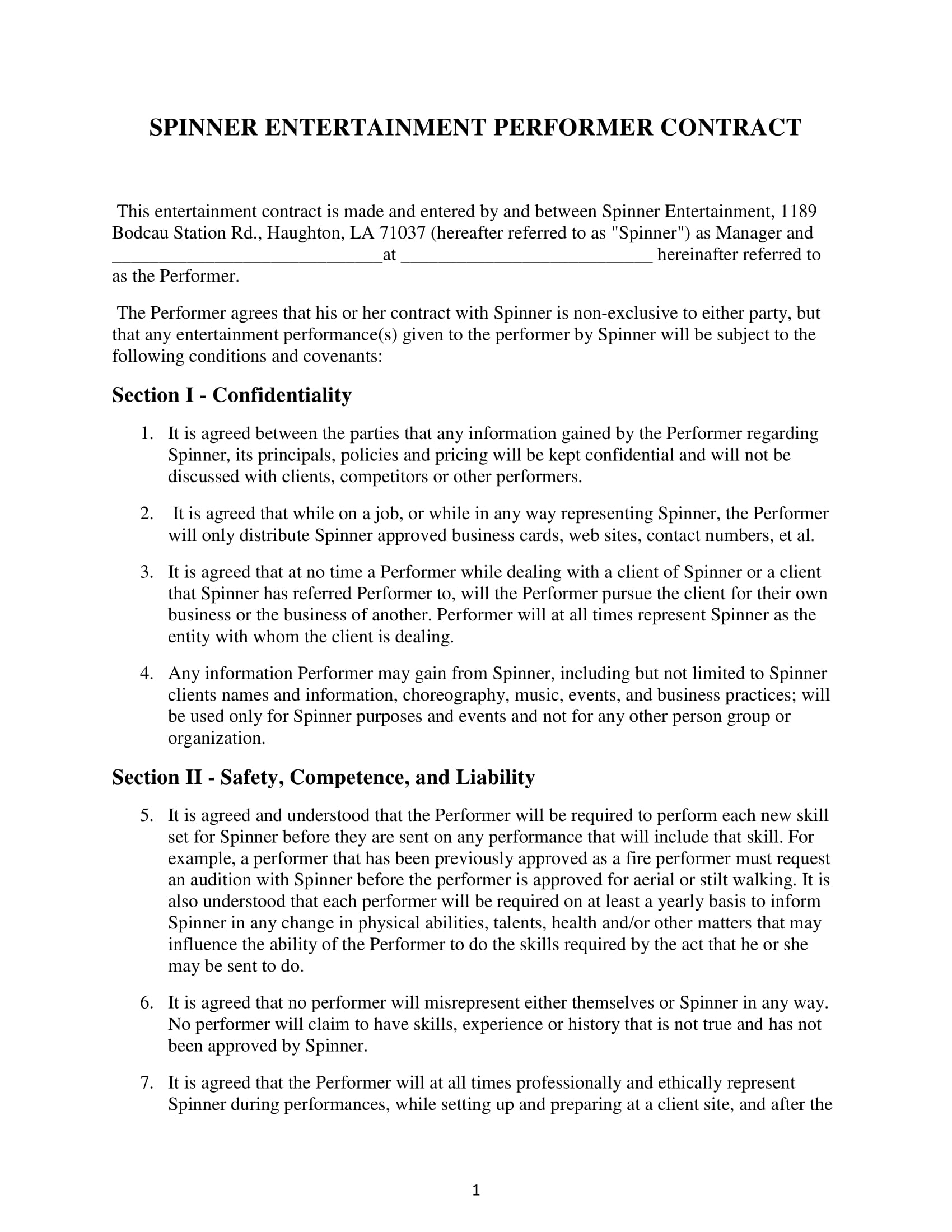 entertainment performer contract form 1