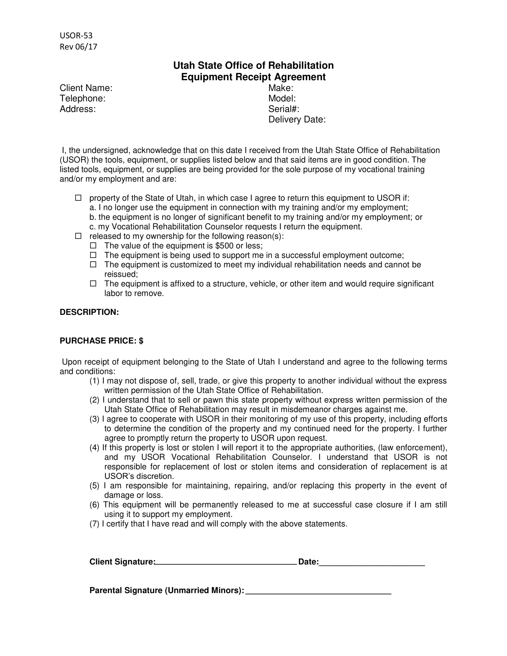equipment receipt agreement contract form 1