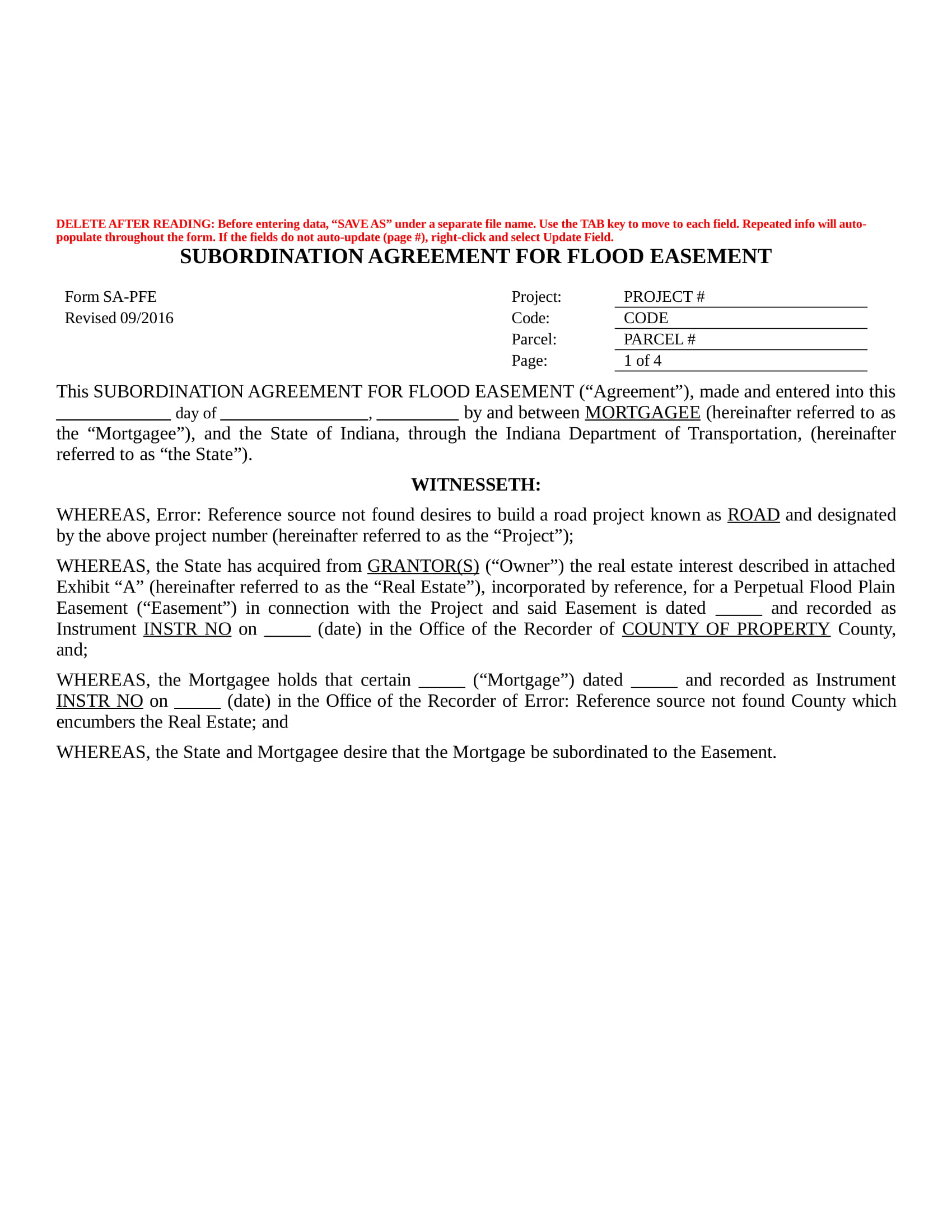 flood easement subordination agreement contract in doc 1