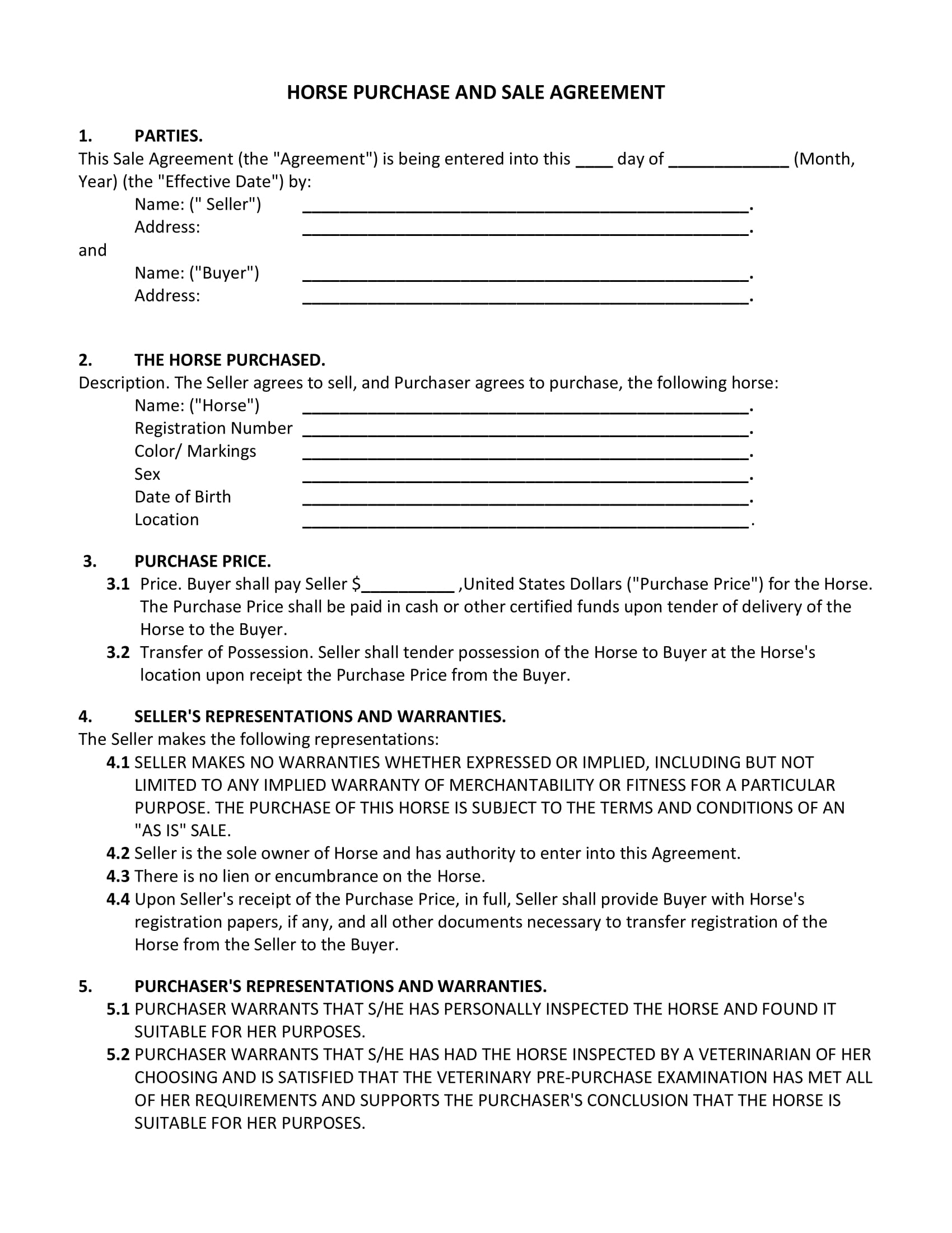 horse buy and sell contract form 1