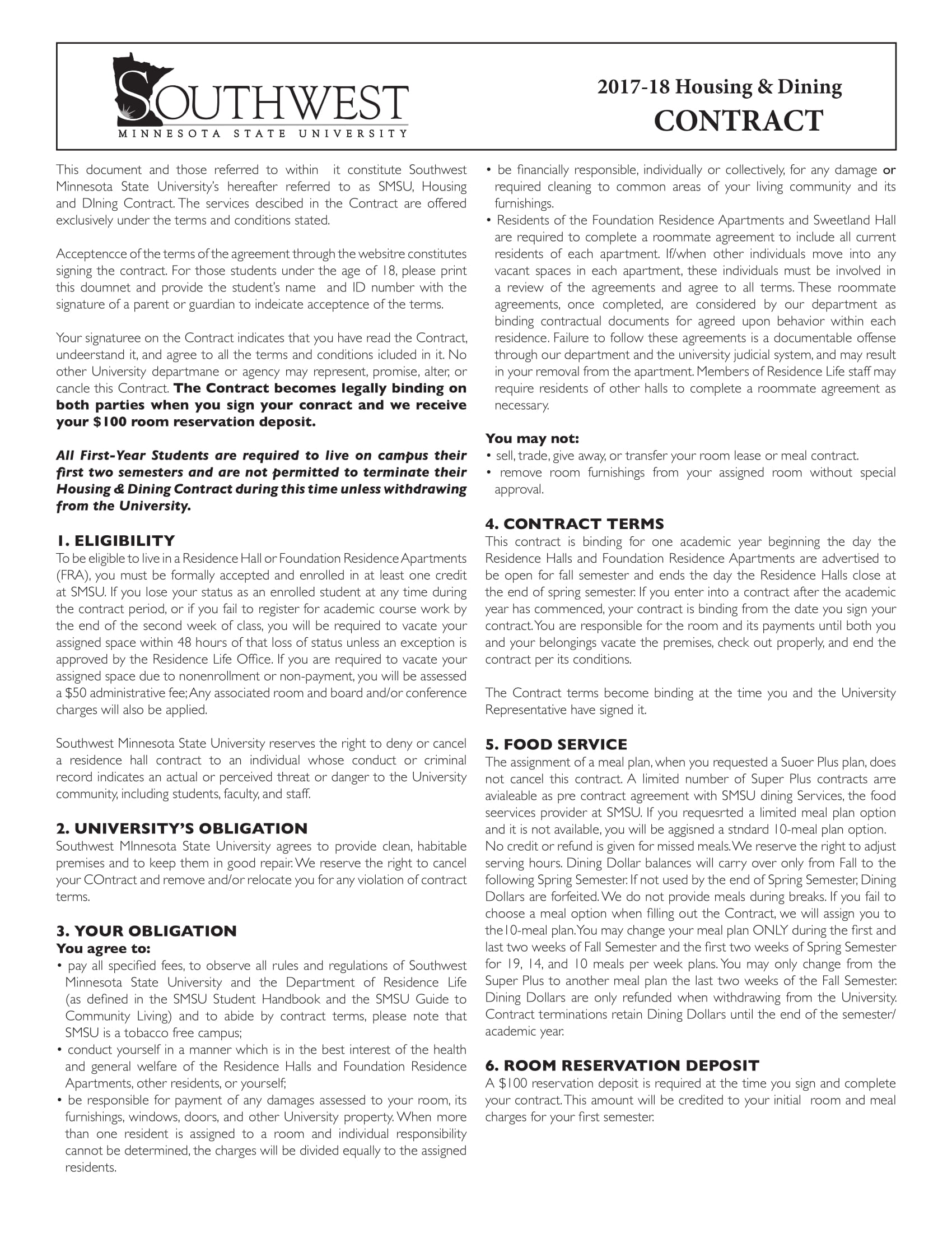 Housing Contract Forms PDF - Housing contract template
