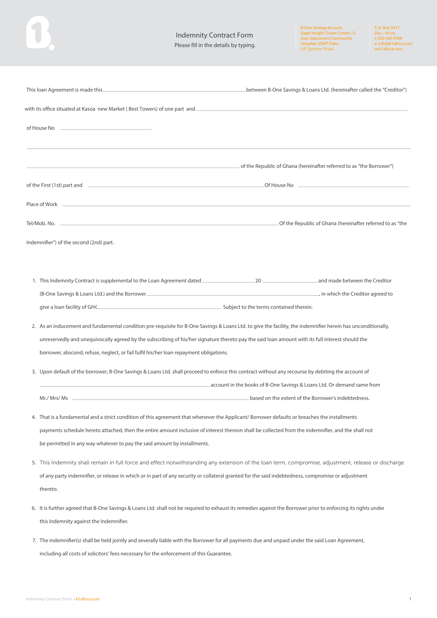 5 Indemnity Agreement Contract Forms Pdf Doc