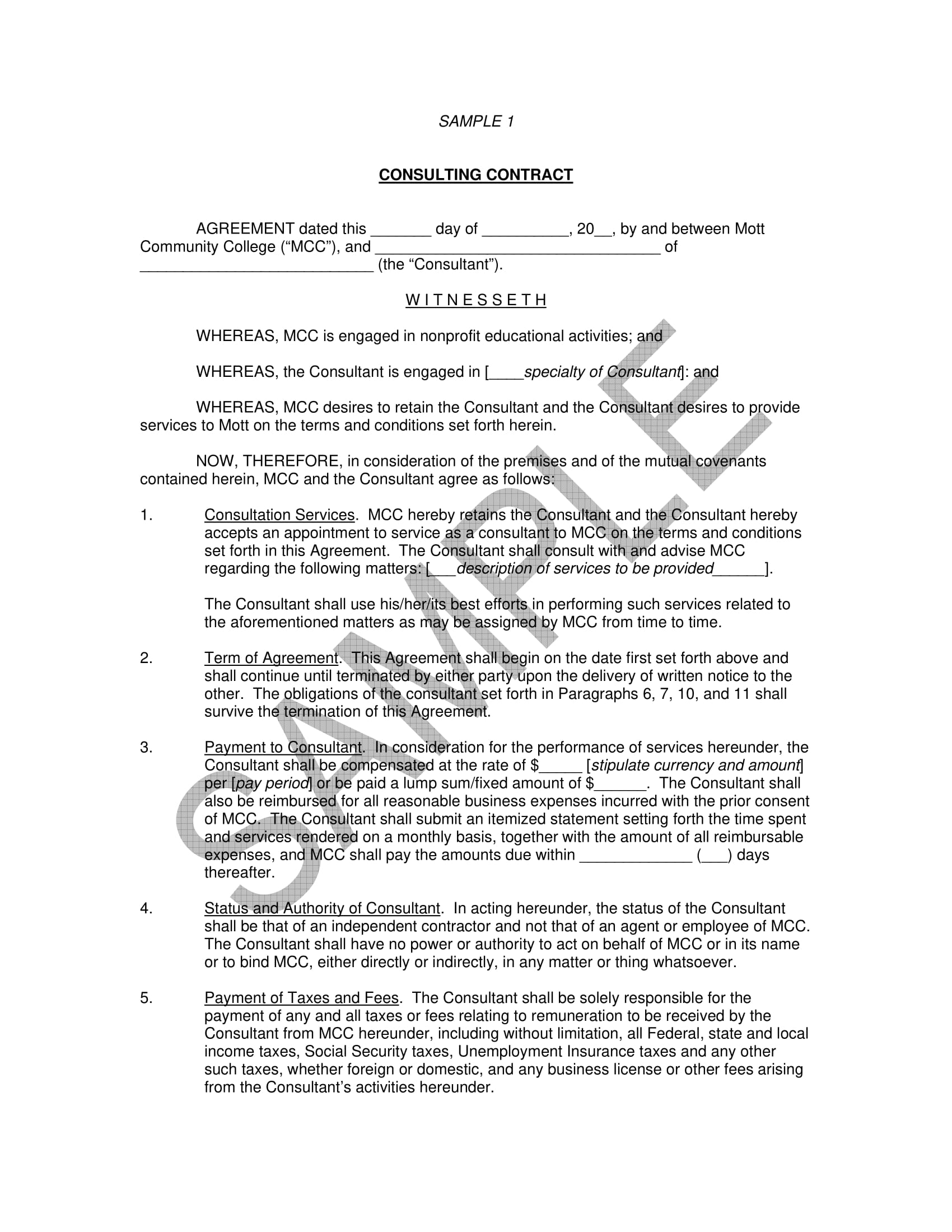 independent contractor consulting contract form 01