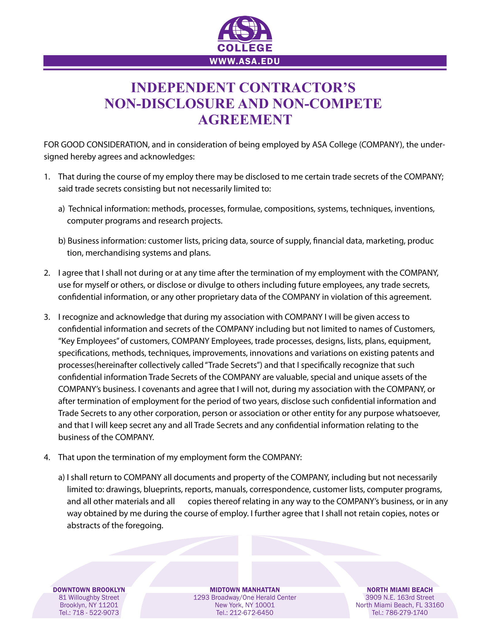 independent contractors non compete agreement contract form 1
