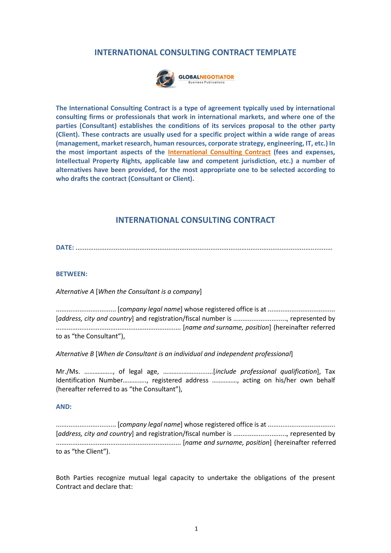 international consulting contract template 1