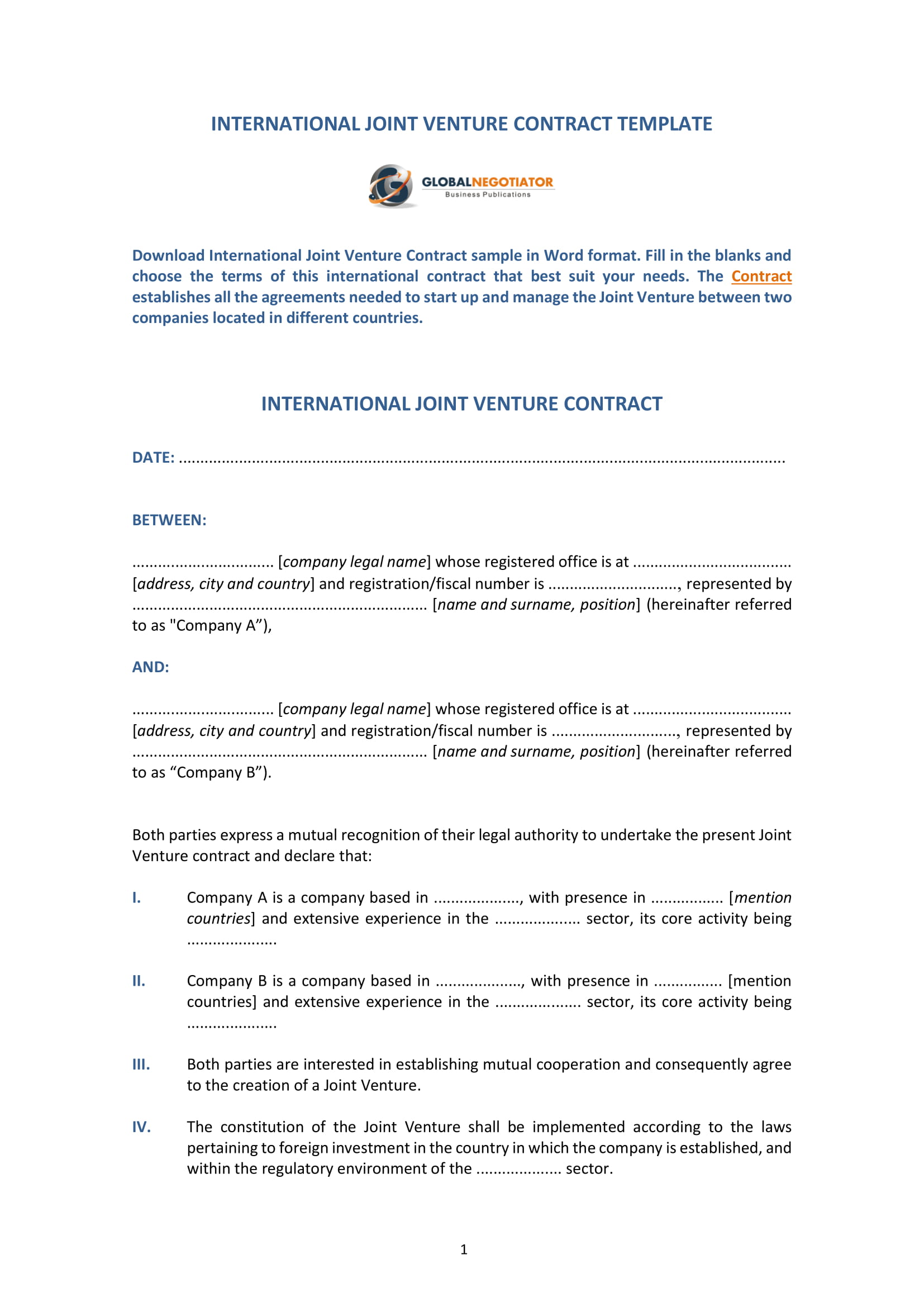 International Joint Venture Contract Template 1