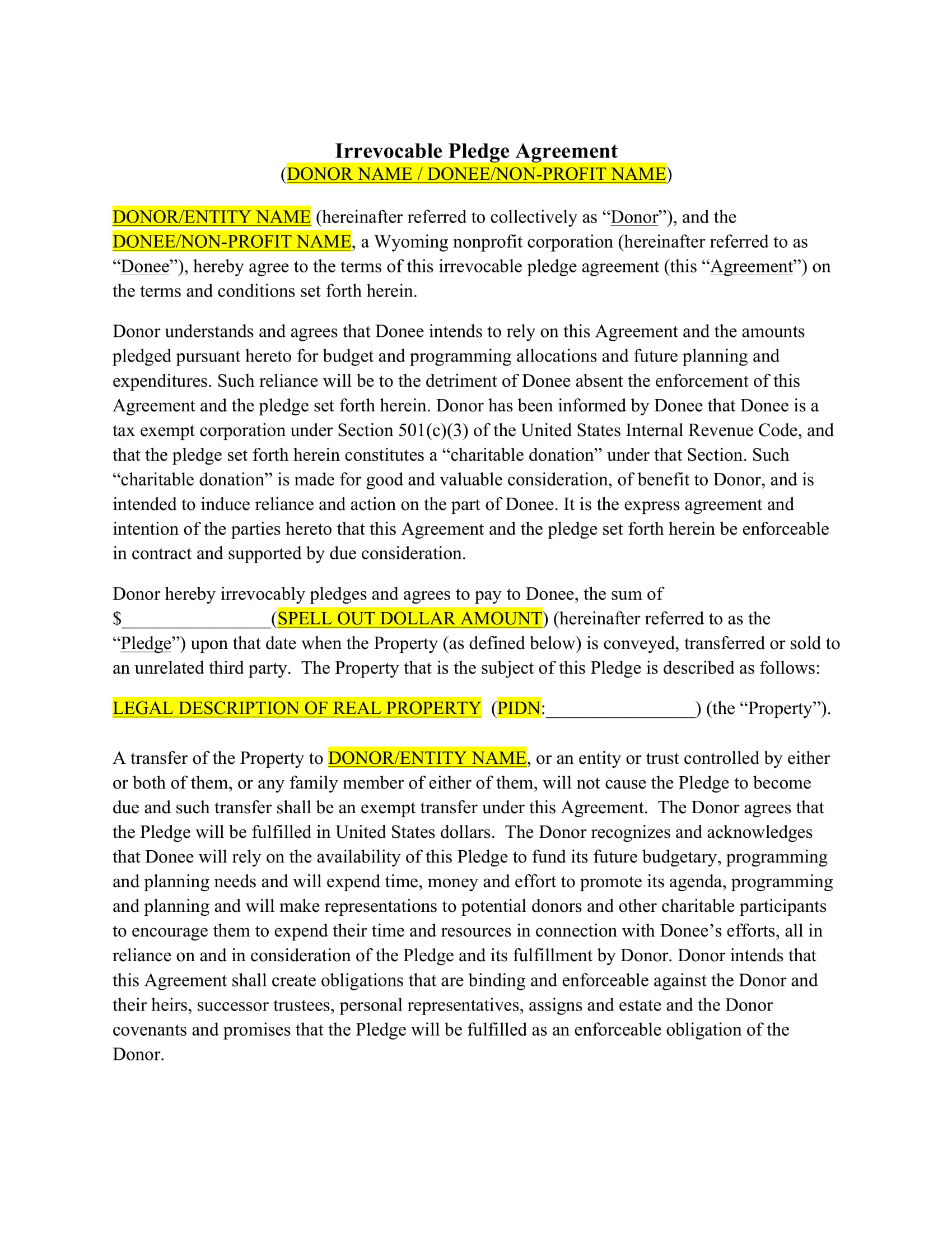 irrevocable pledge agreement contract form 1