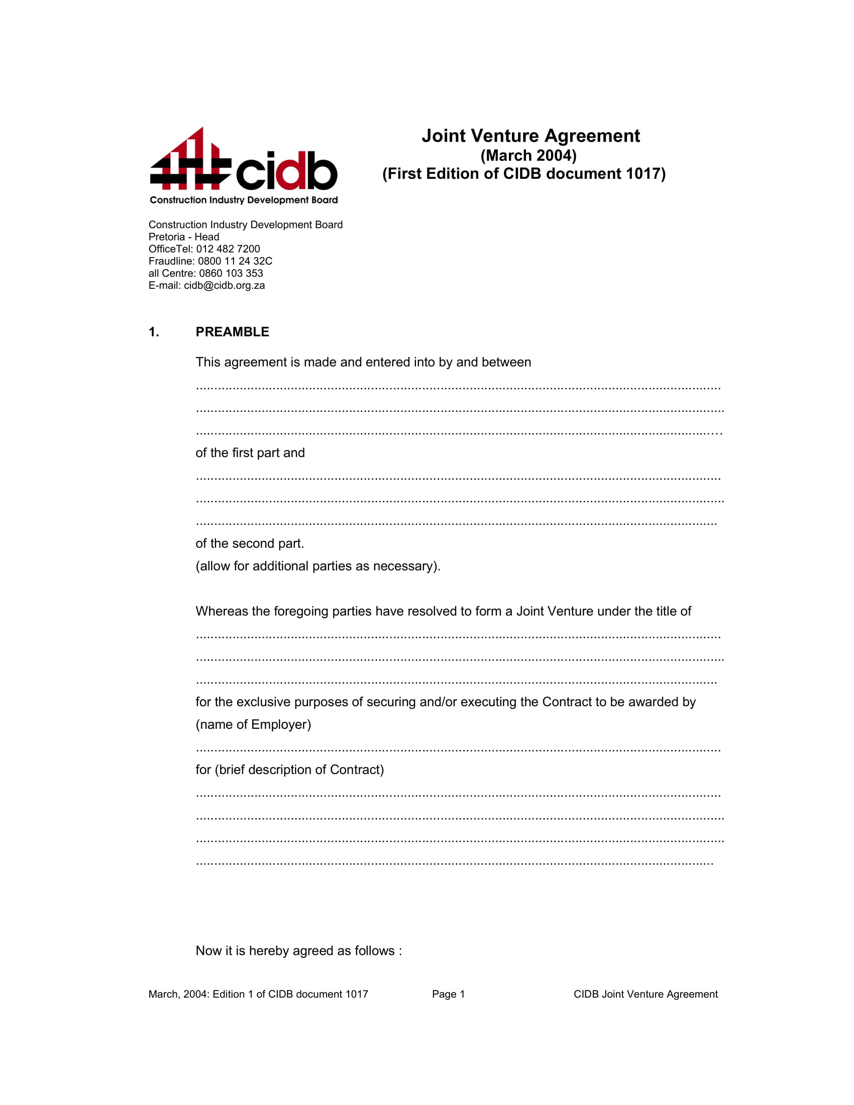 joint venture agreement contract form 1