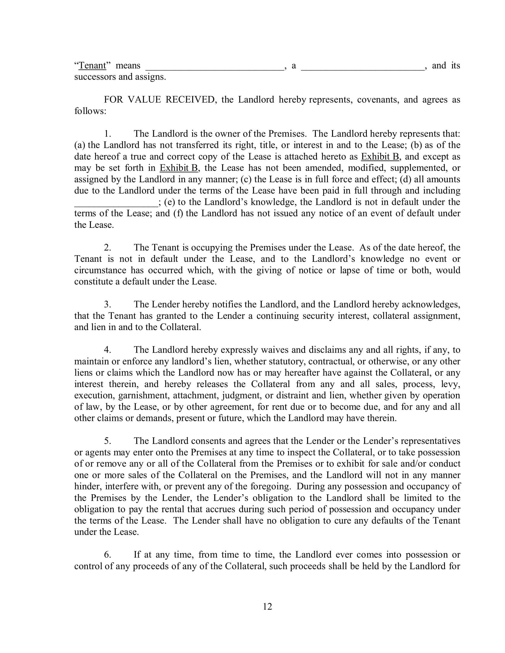 landlord subordination agreement contract form 13