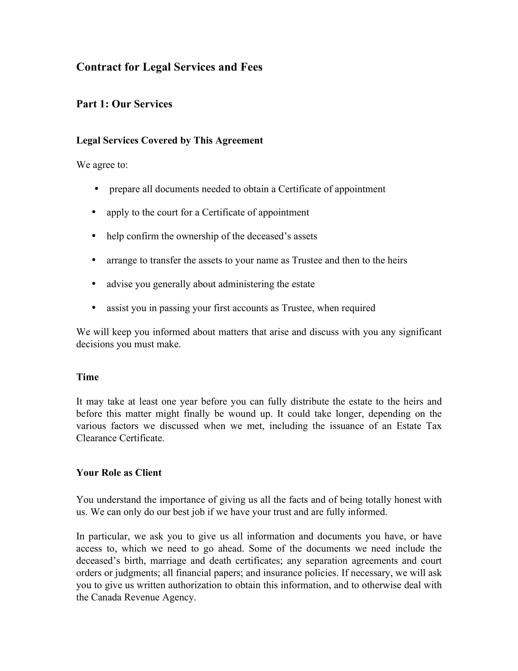 legal services and fees contract form 1