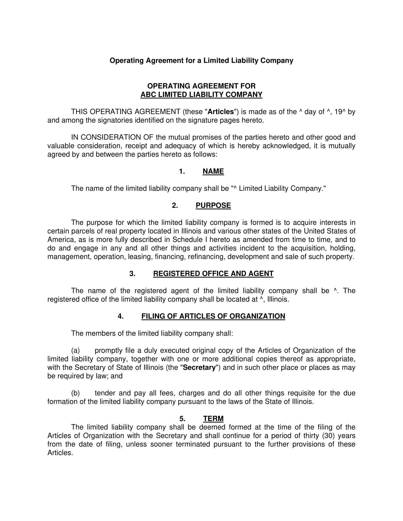 free 5  operating agreement contract forms in pdf