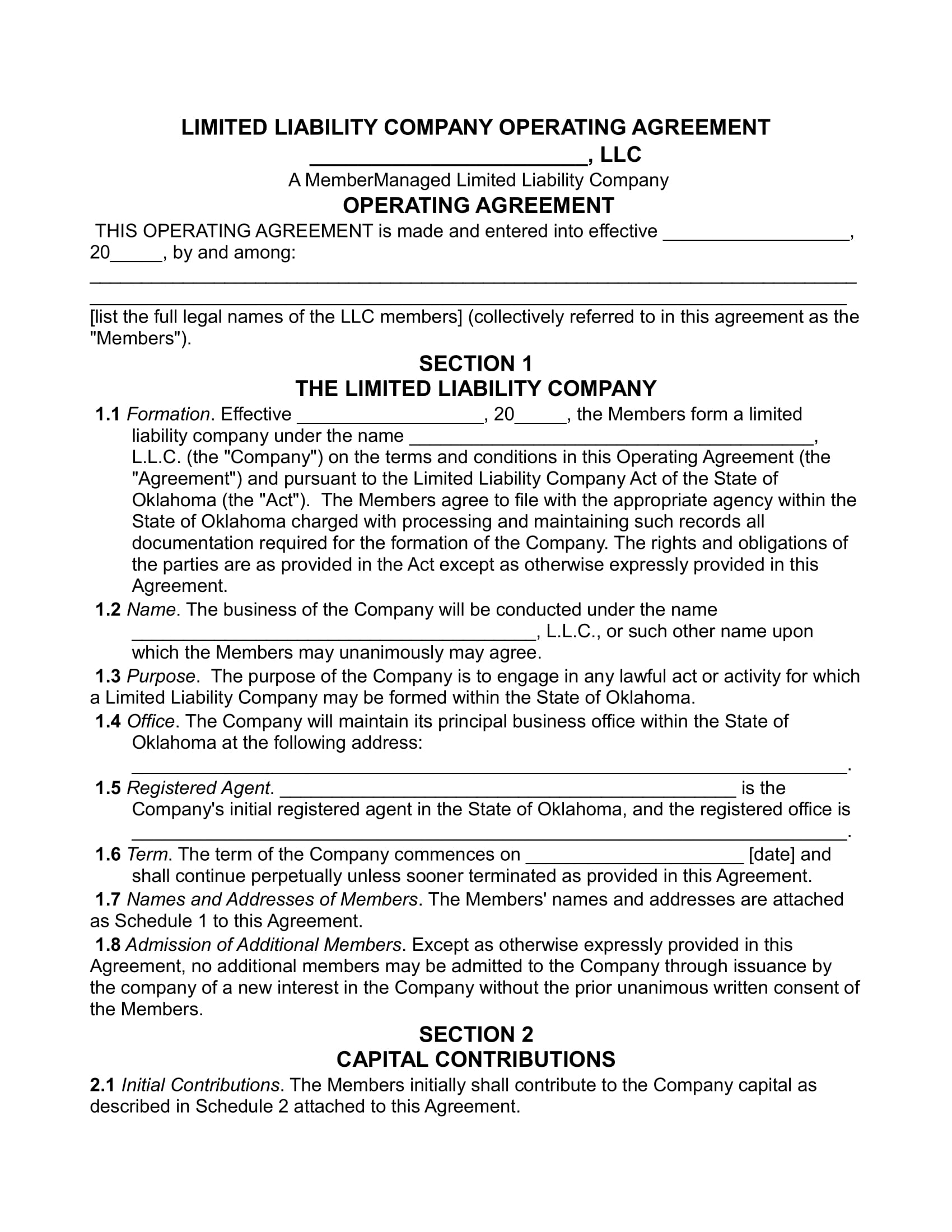 limited liability operating agreement contract form 01