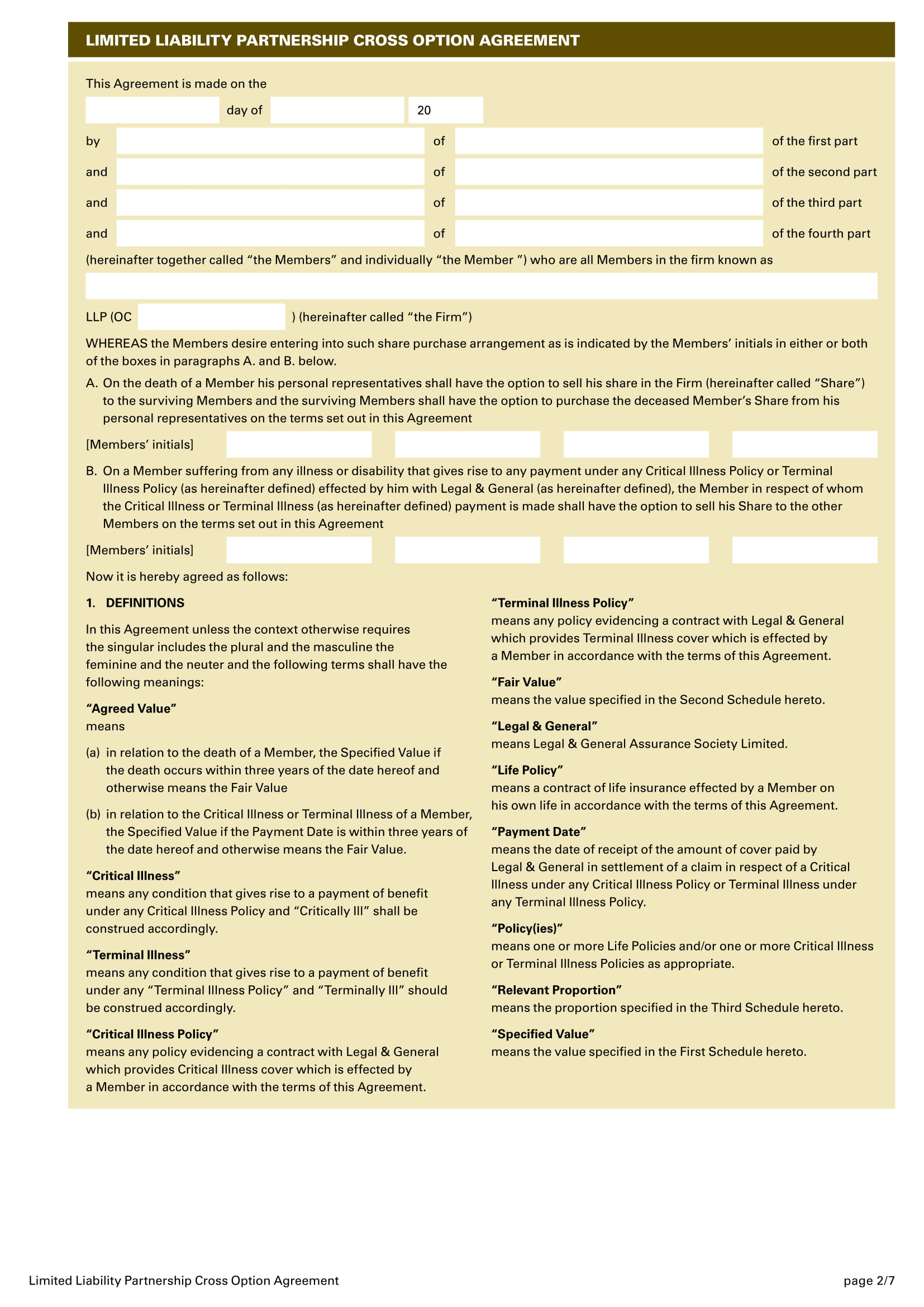 3  limited liability agreement contract forms