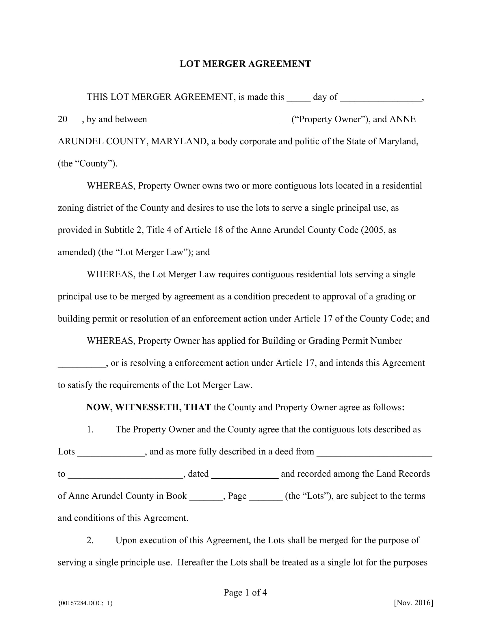 lot merger agreement contract form 1