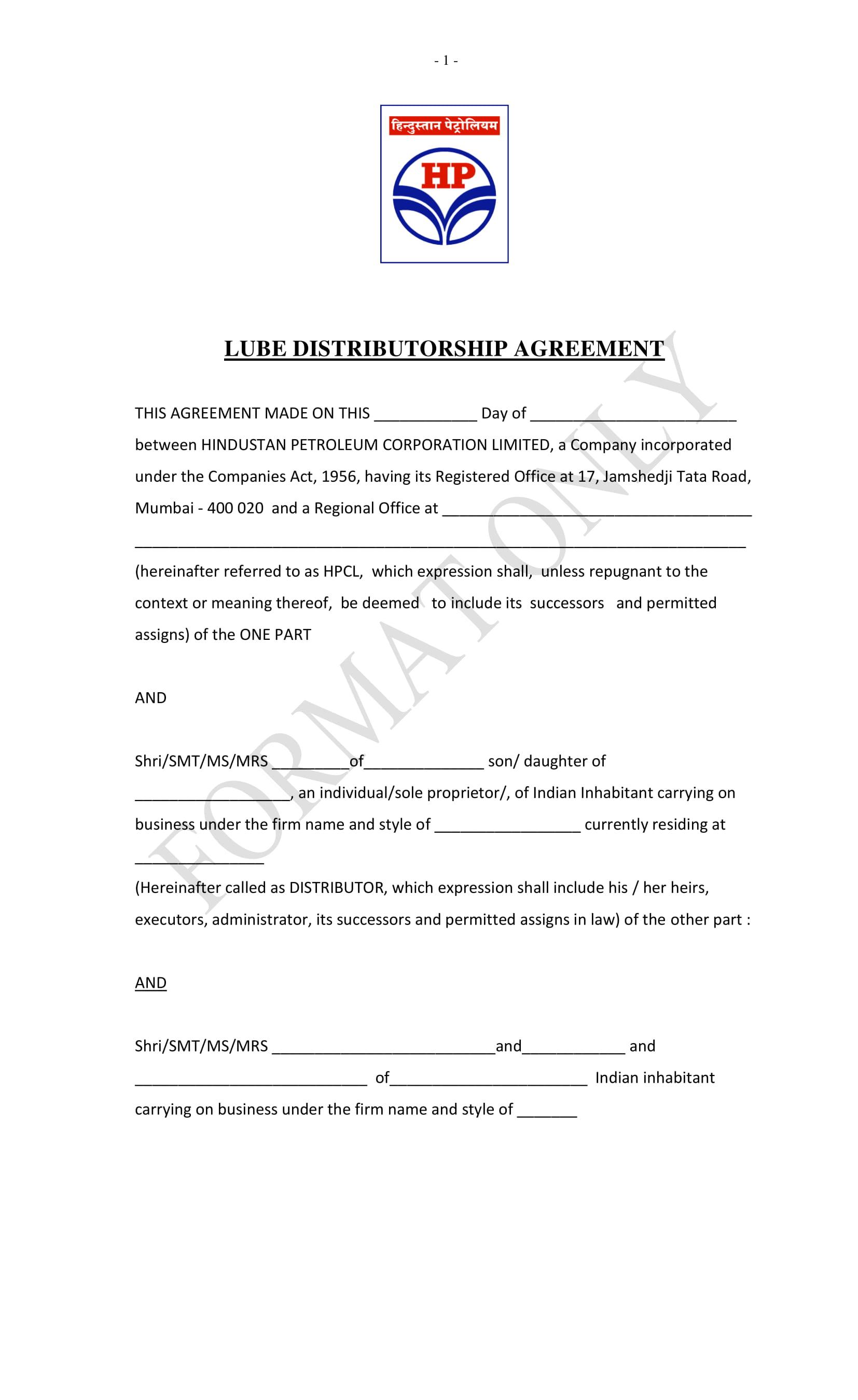 lube distributorship agreement contract form 01