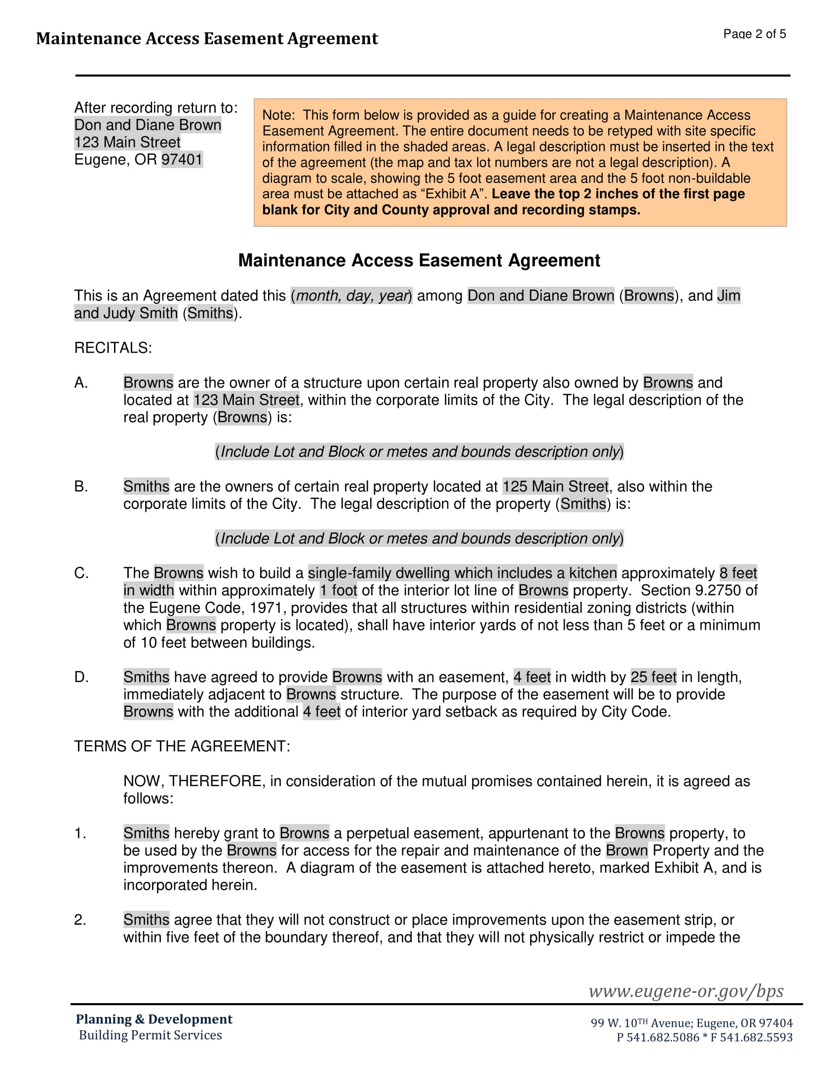 maintenance access easement agreement contract form 2