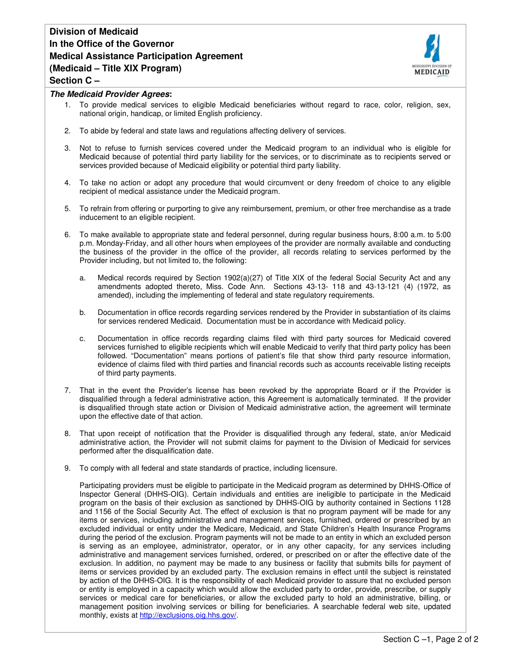 medicaid assistance participation agreement contract form 1