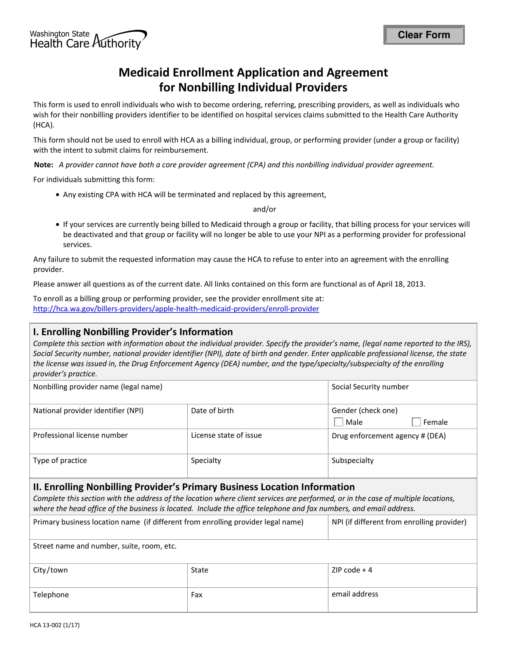 medicaid enrollment application and agreement contract form 1