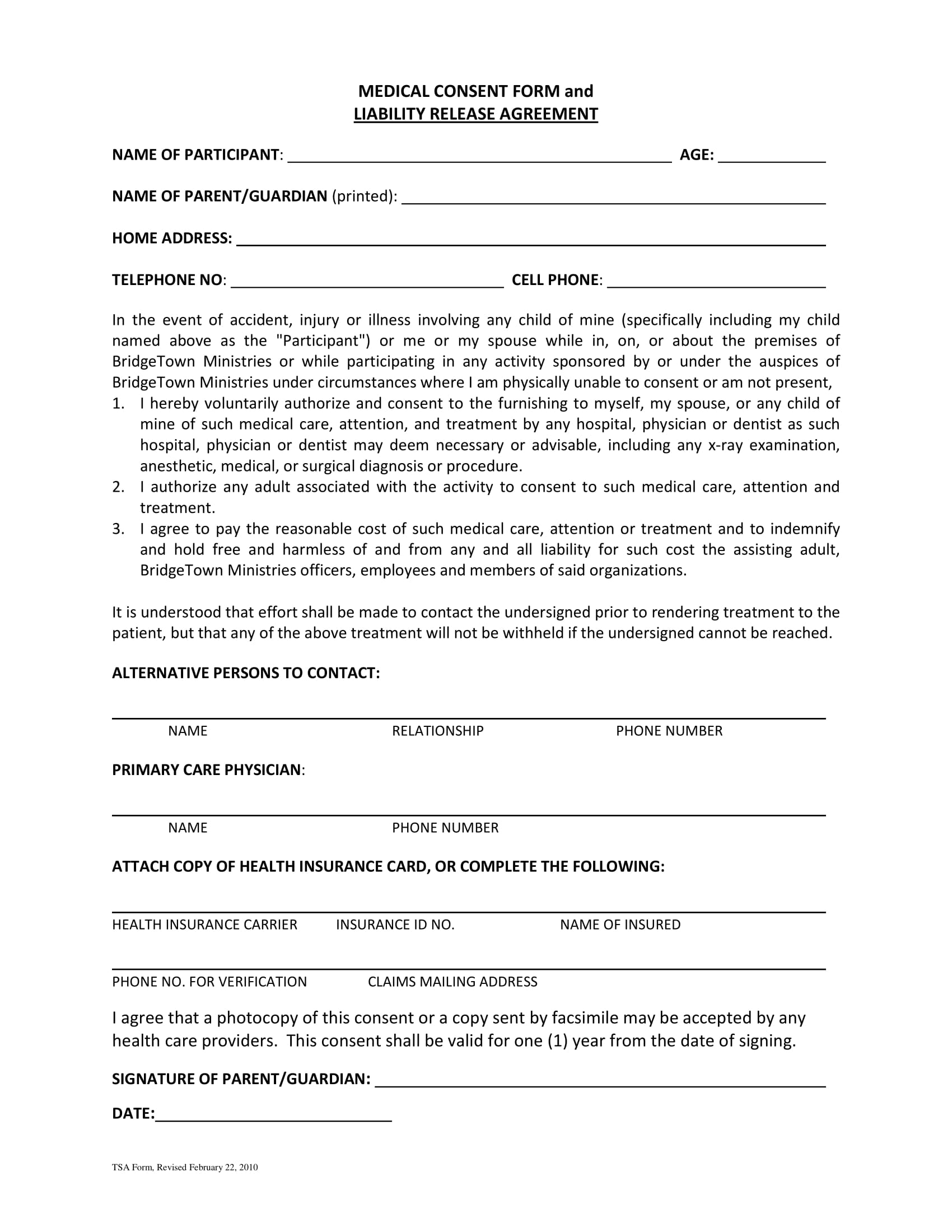 medical consent liability release agreement contract form 1