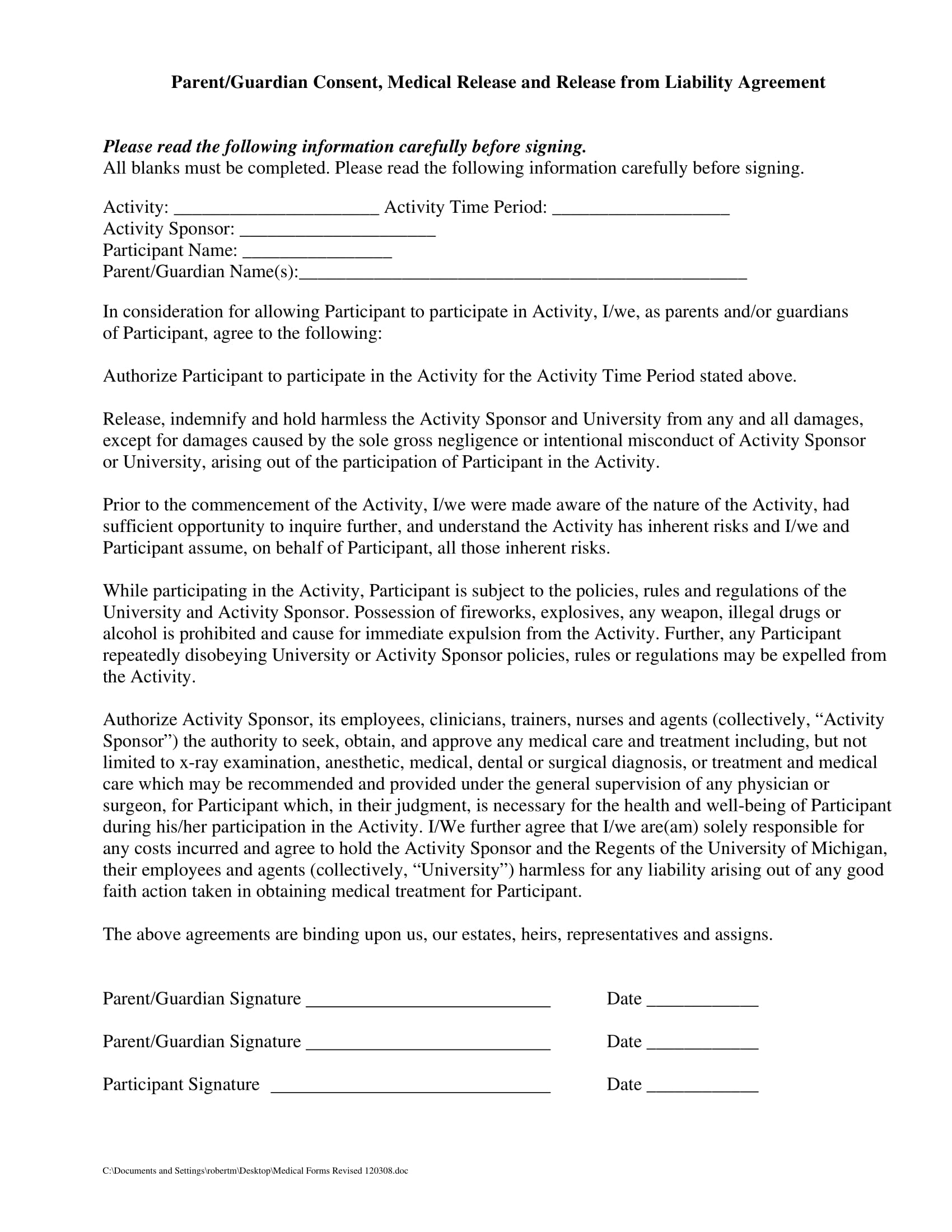 medical release parent consent agreement contract form 1