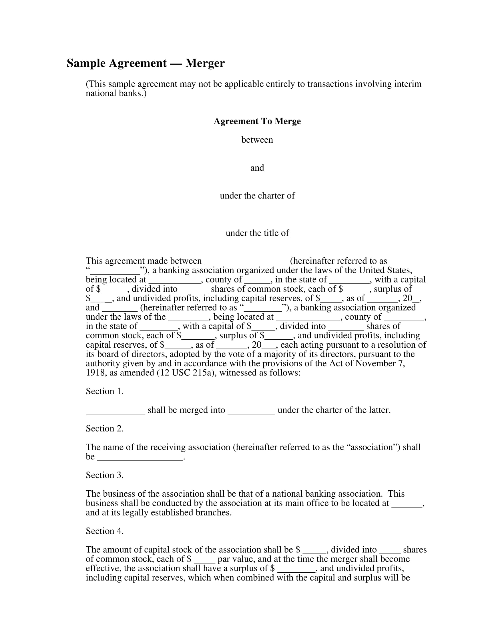 merger agreement contract form sample 1