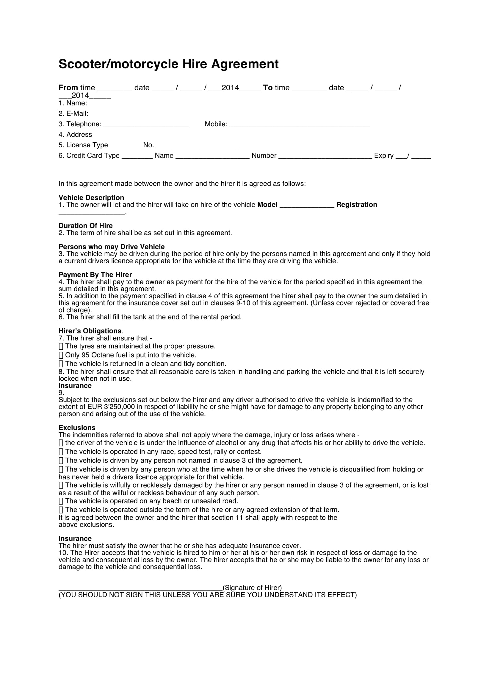motorcycle hire agreement contract form 1
