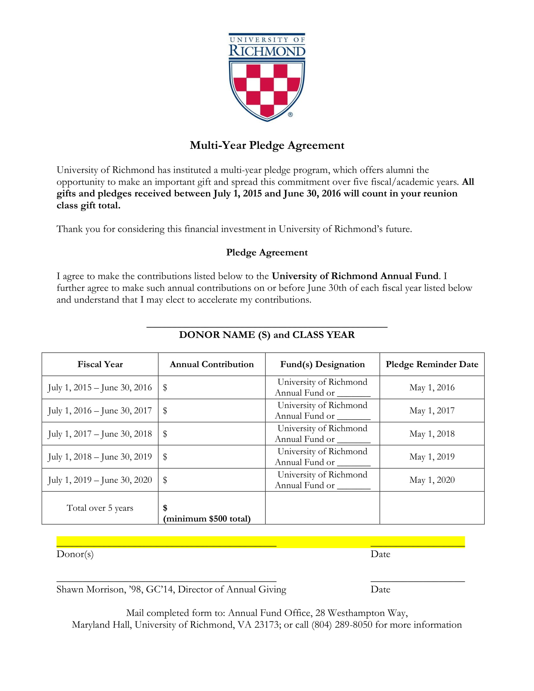 multi year pledge agreement contract form 1