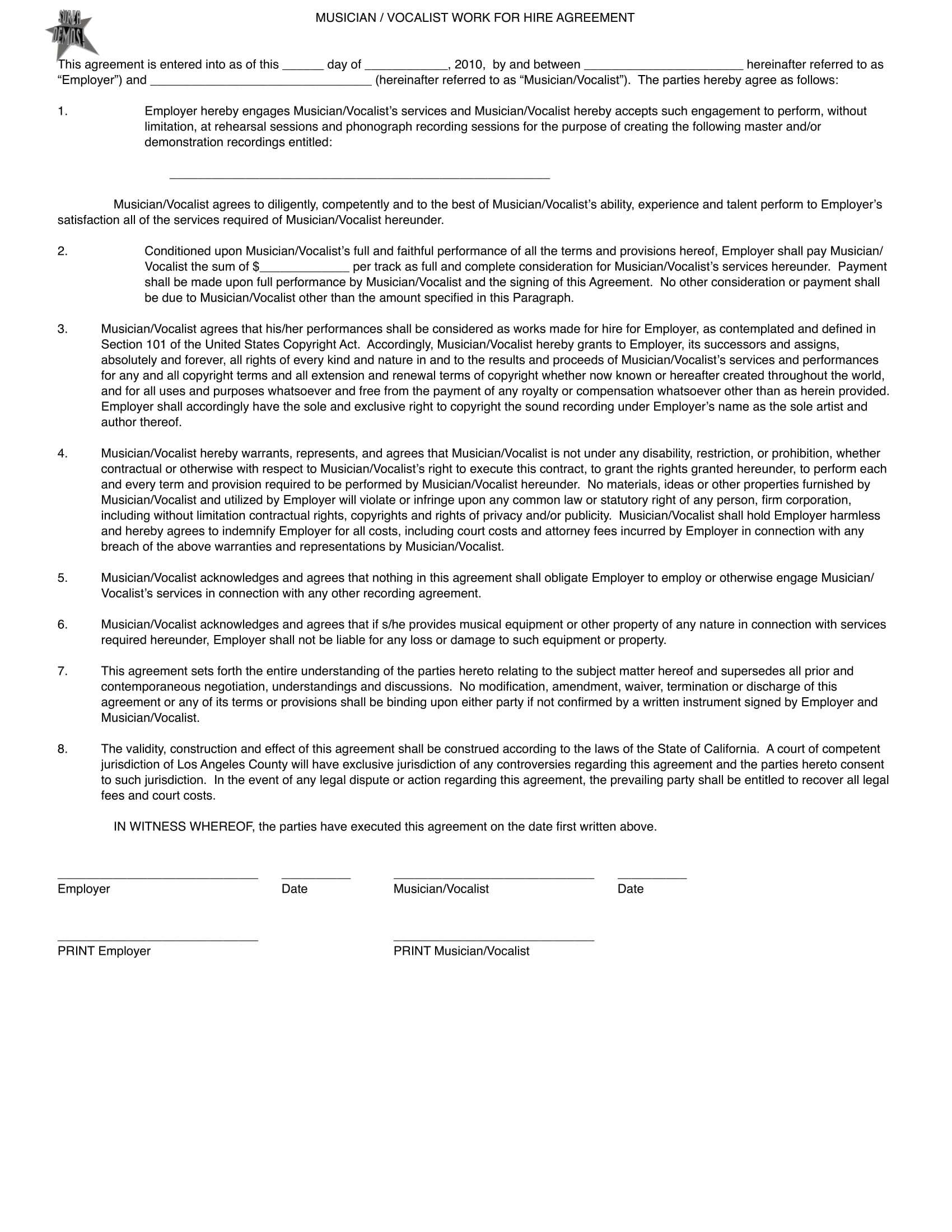 musician work hire agreement contract form 1