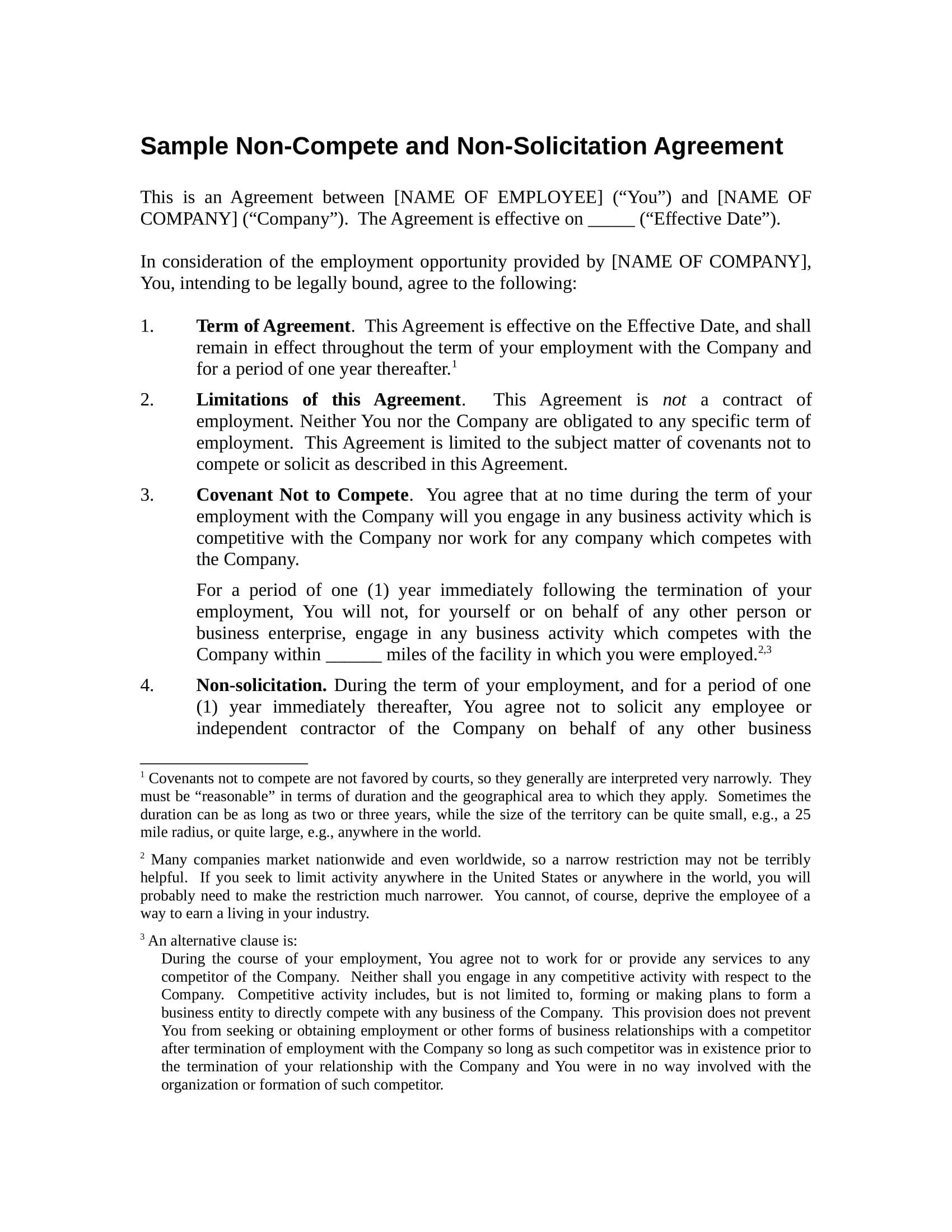 non compete agreement contract form in doc 1