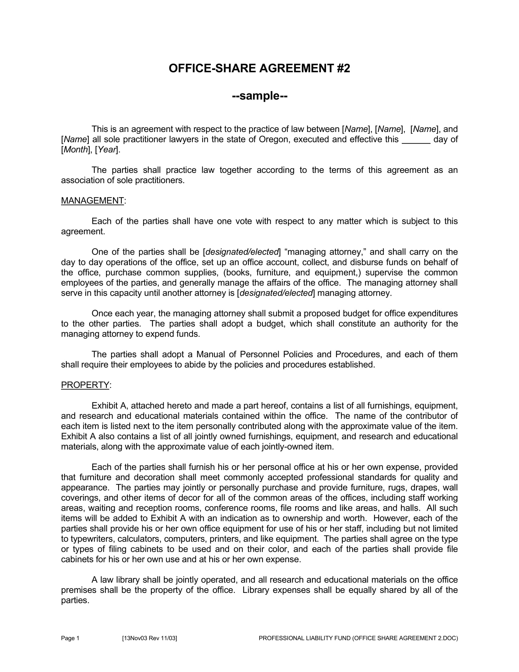 Office Space Sharing Agreement Template