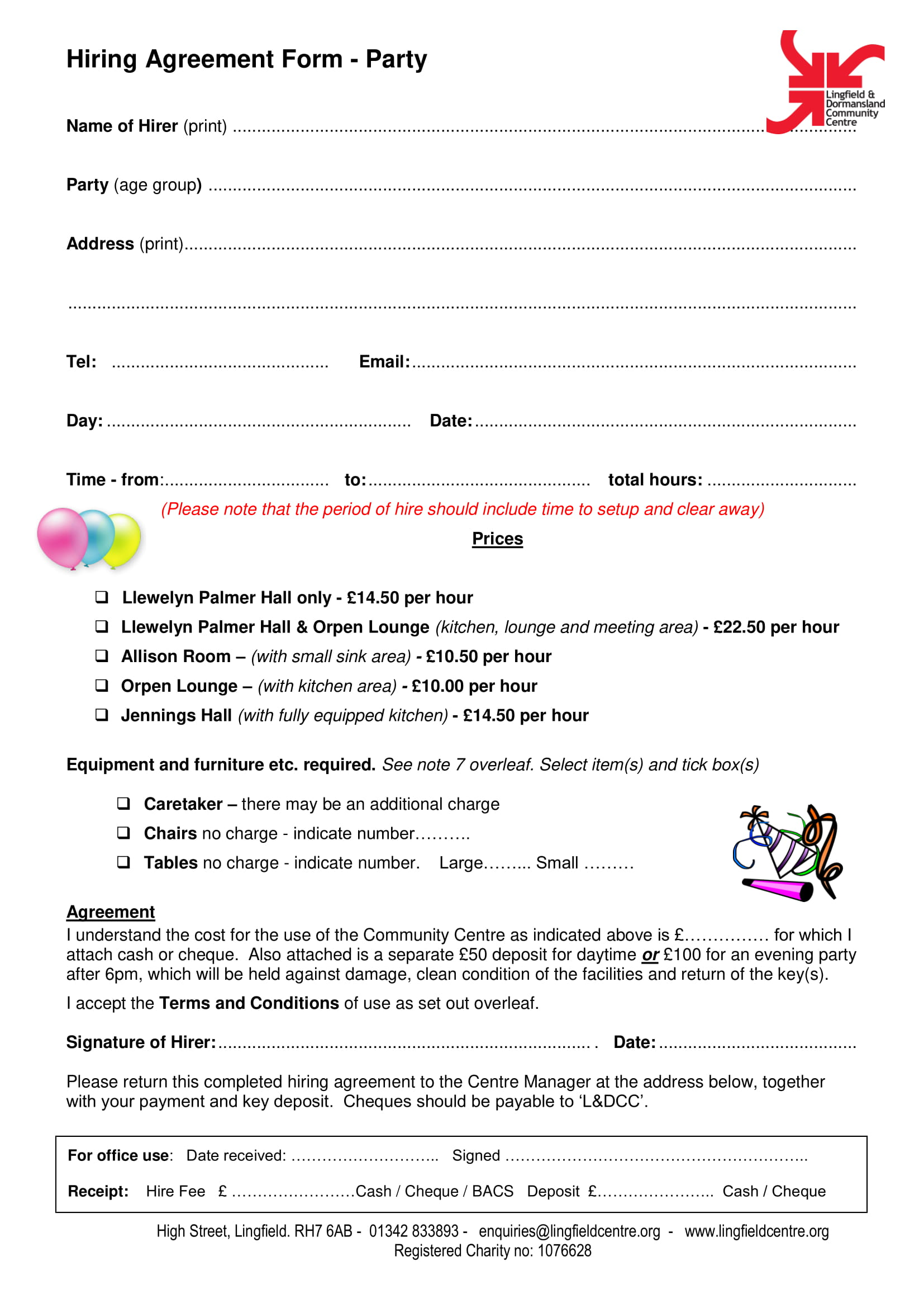 party hire agreement contract form 1