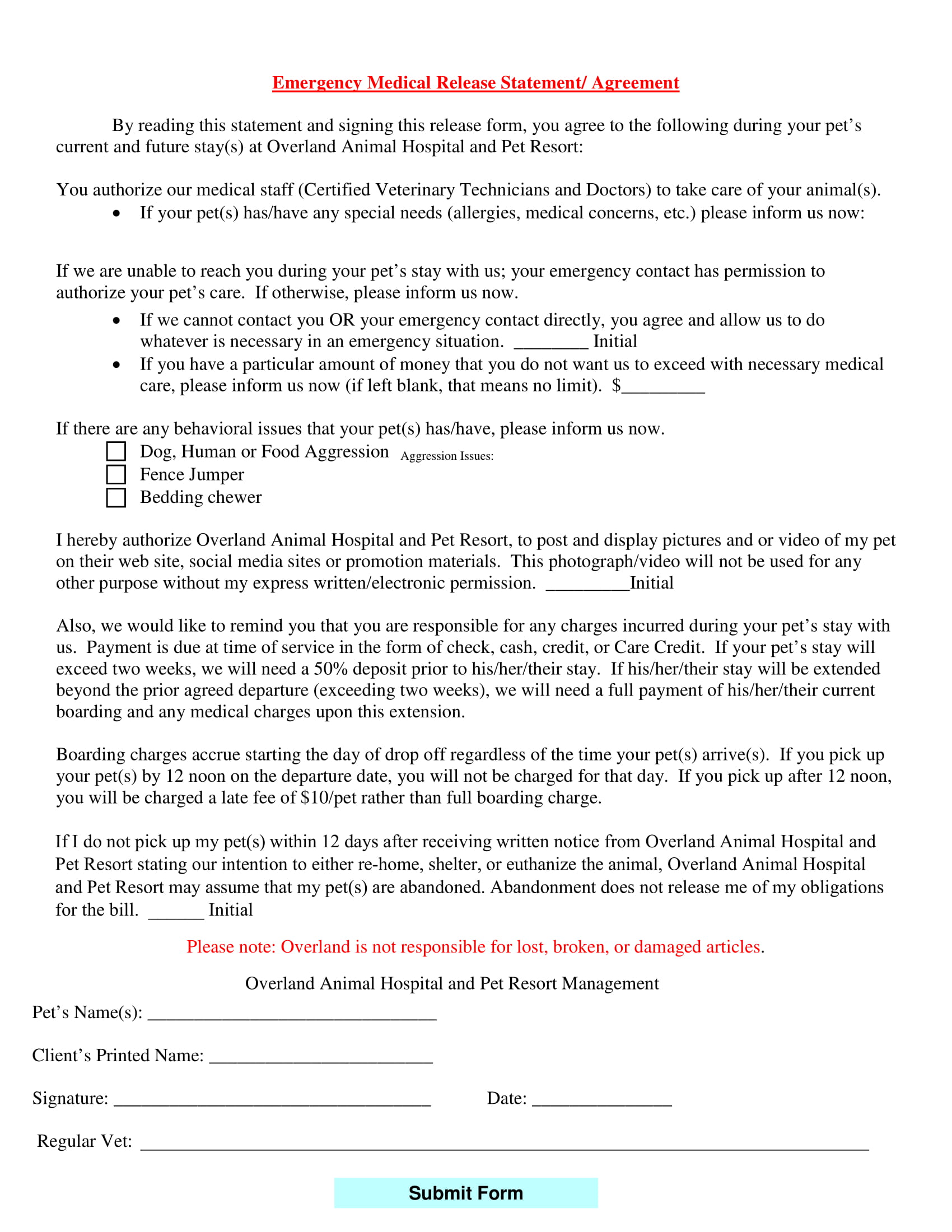 pet emergency medical release agreement contract form 1